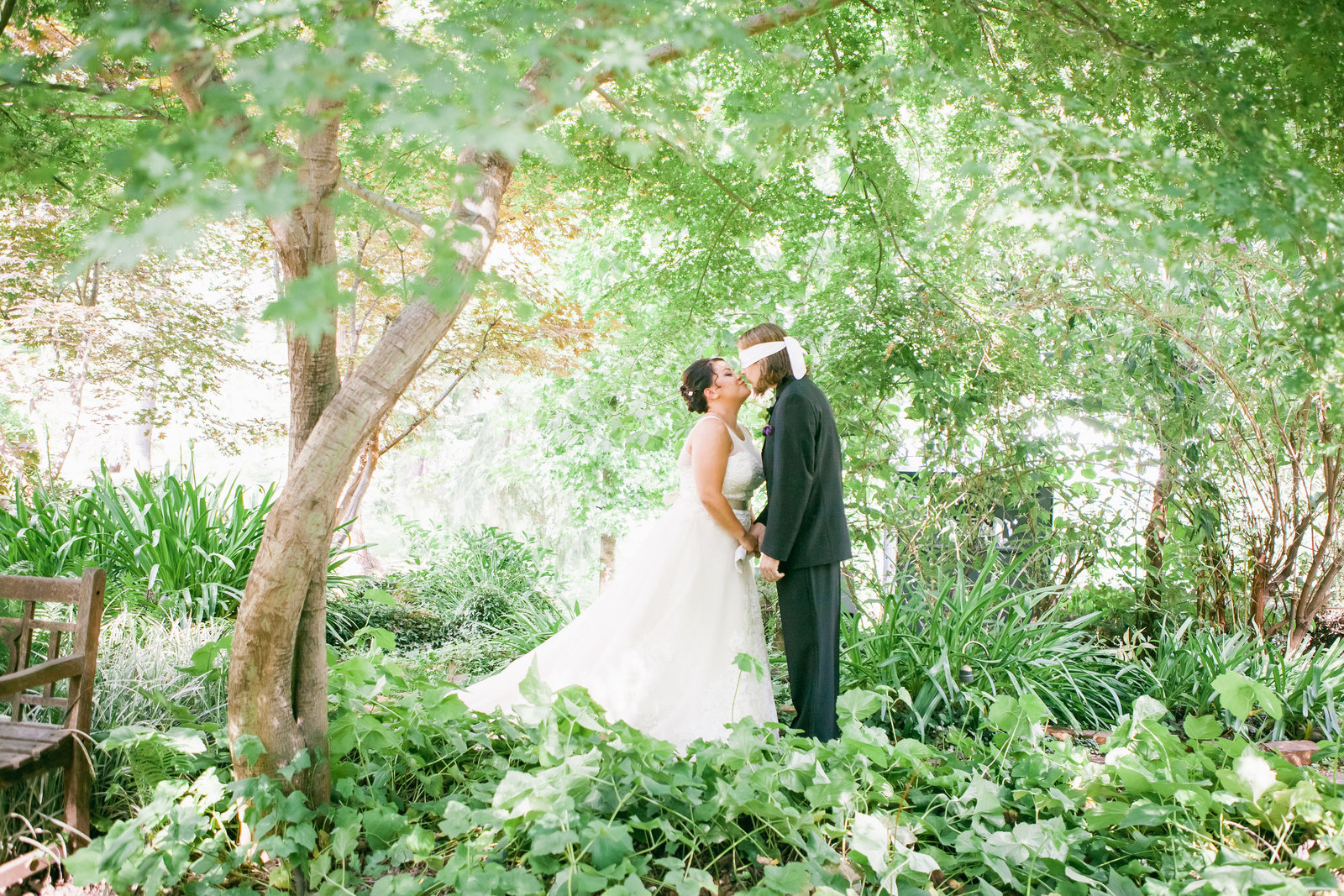 Colfax Wedding First Look bride and groom forest