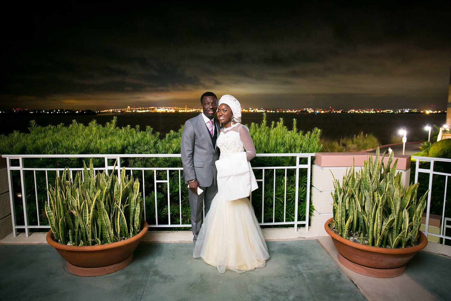 night shot at loews coronado bride and groom