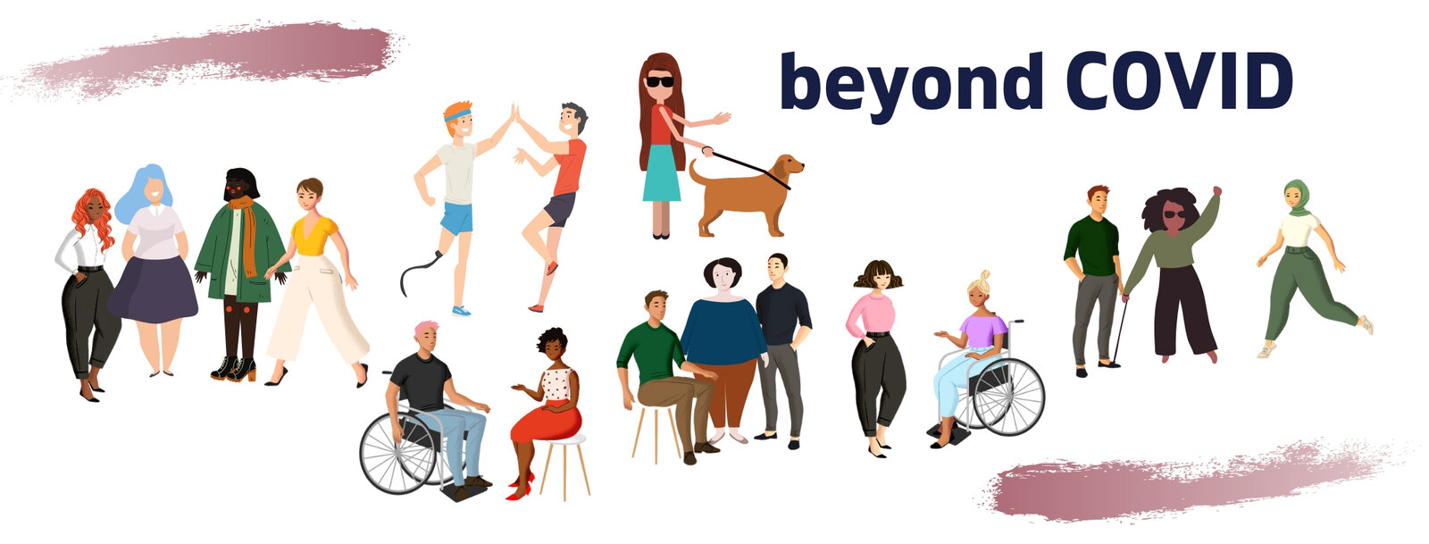 image of group of people talking together.  Text reads 'Beyond COVID'