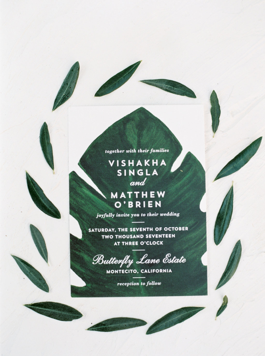 Modern monstera leaf wedding invitation suite