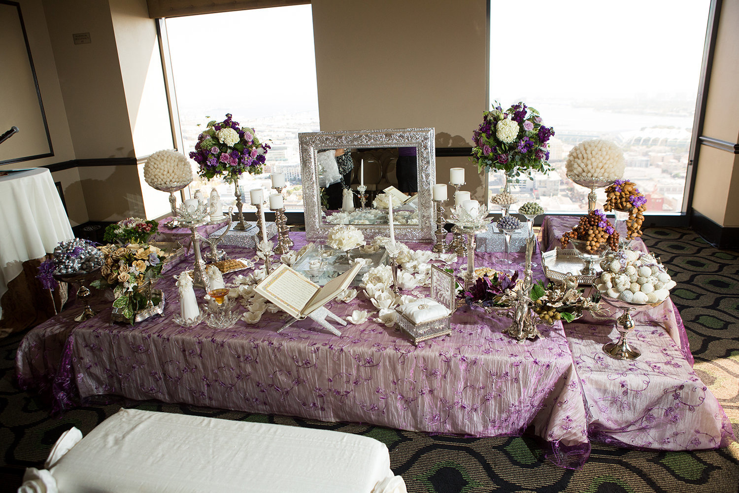 Elegant Sofreh setup at a wedding in San Diego | The University Club atop Symphony Tower
