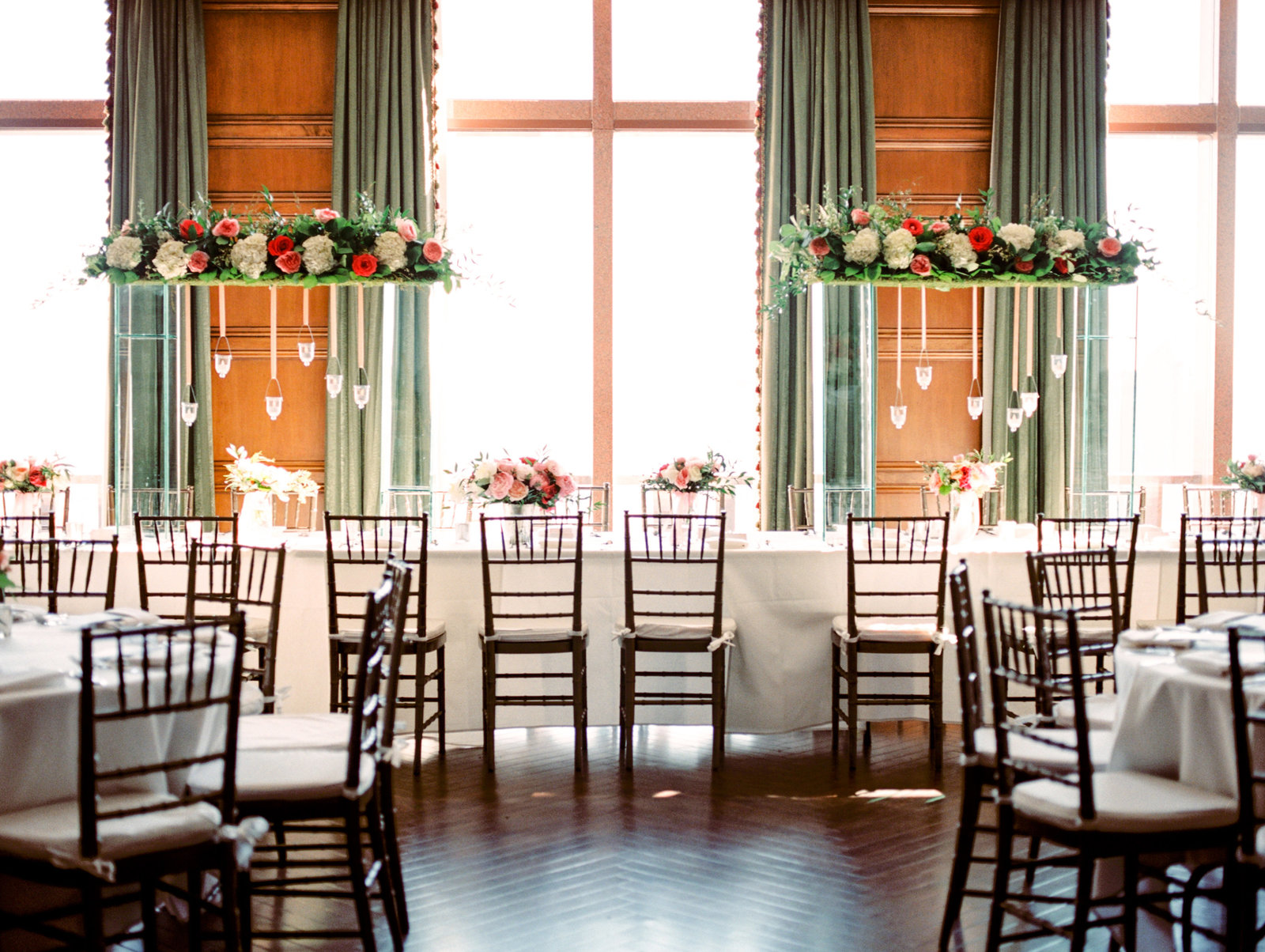 dallas texas wedding reception with hanging display from r love floral
