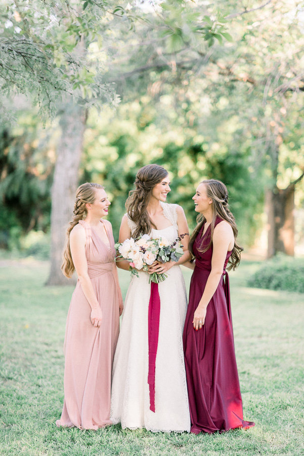 Tucson Medella Vina Wedding Photo of Bride and Mauve Bridesmaids | Tucson Wedding Photographer | West End Photography
