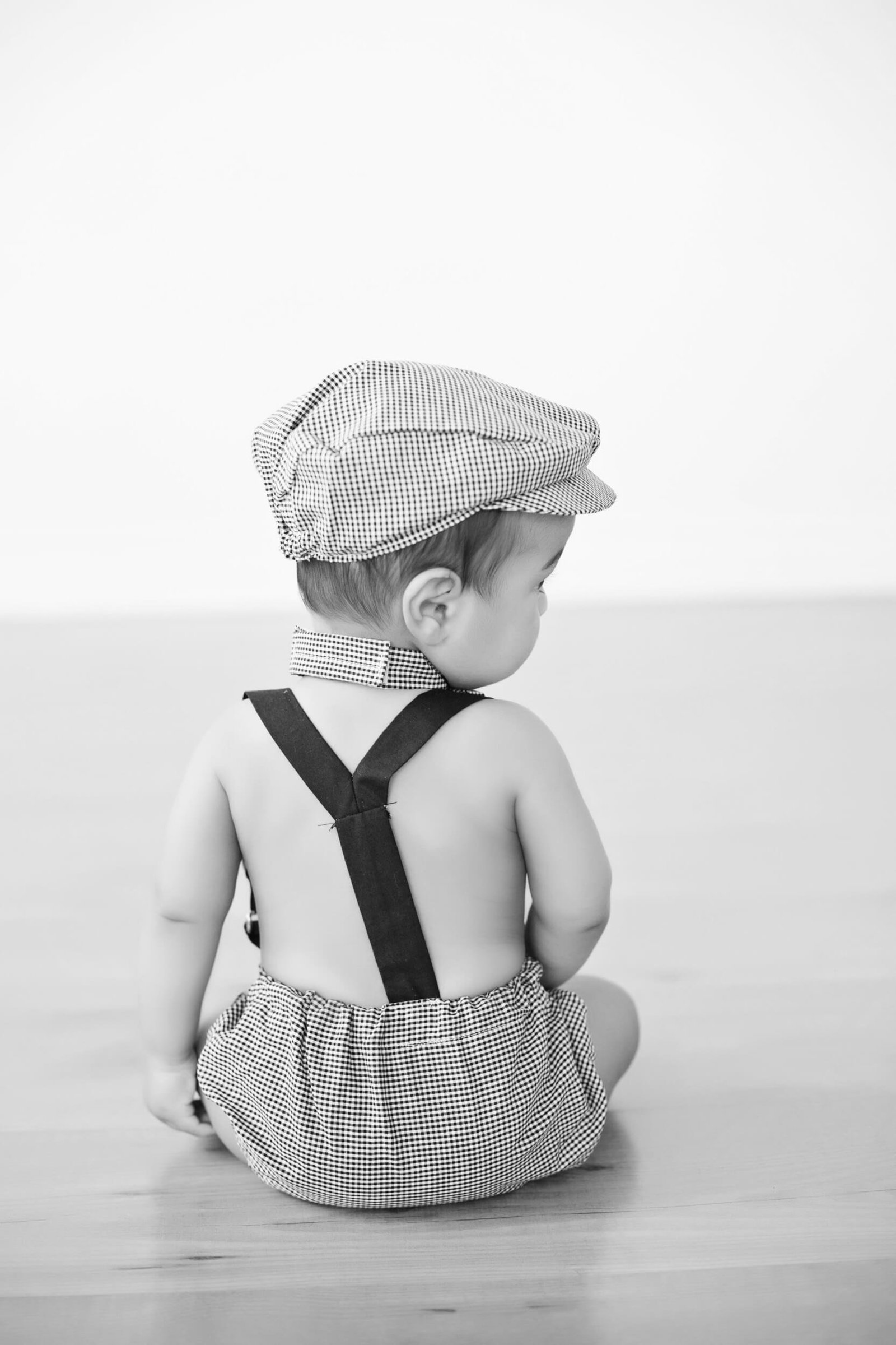 six month old boy newsboy photoshoot