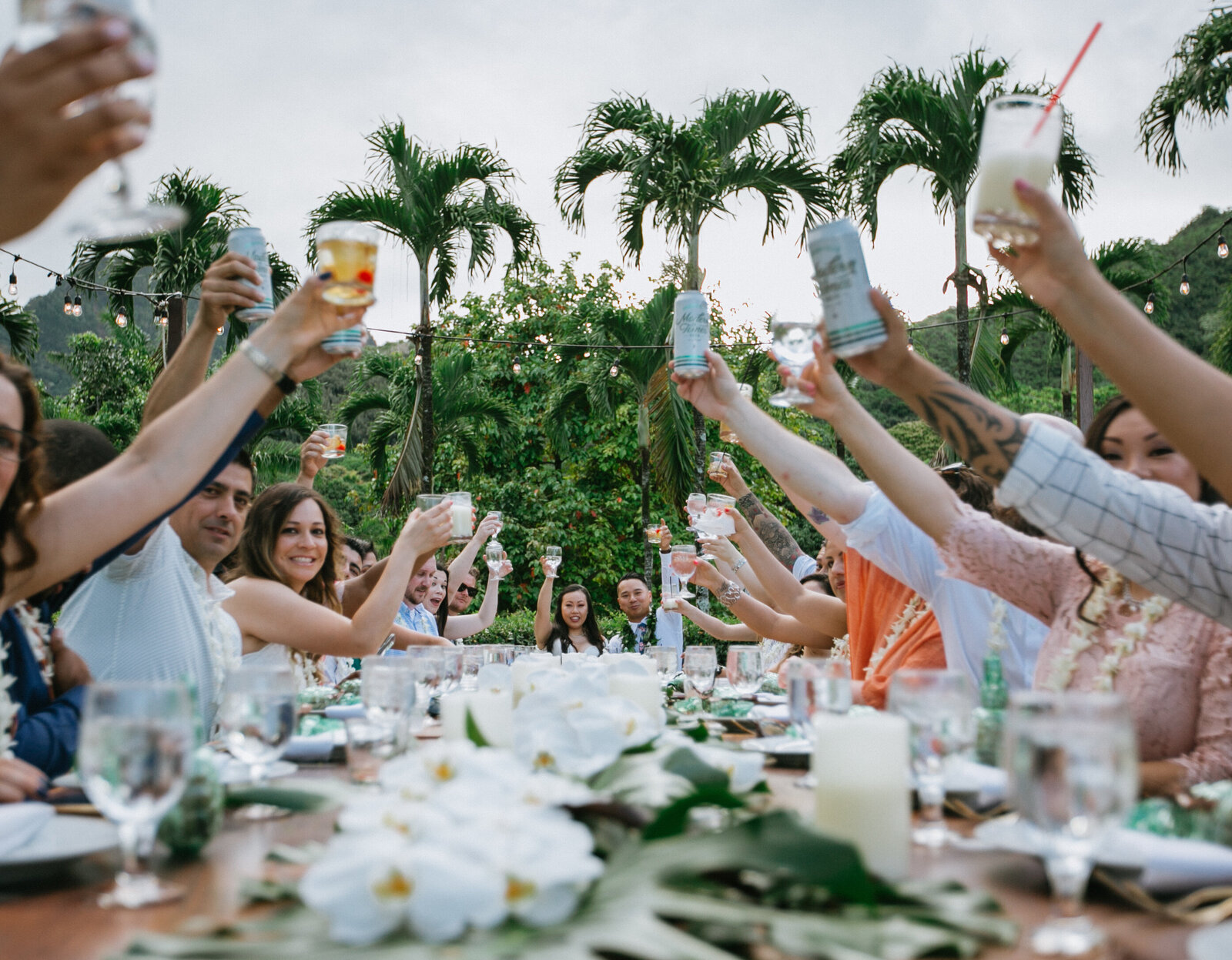 Wedding Party Cheers - Kualoa Ranch, Molii Gardens, Hawaii