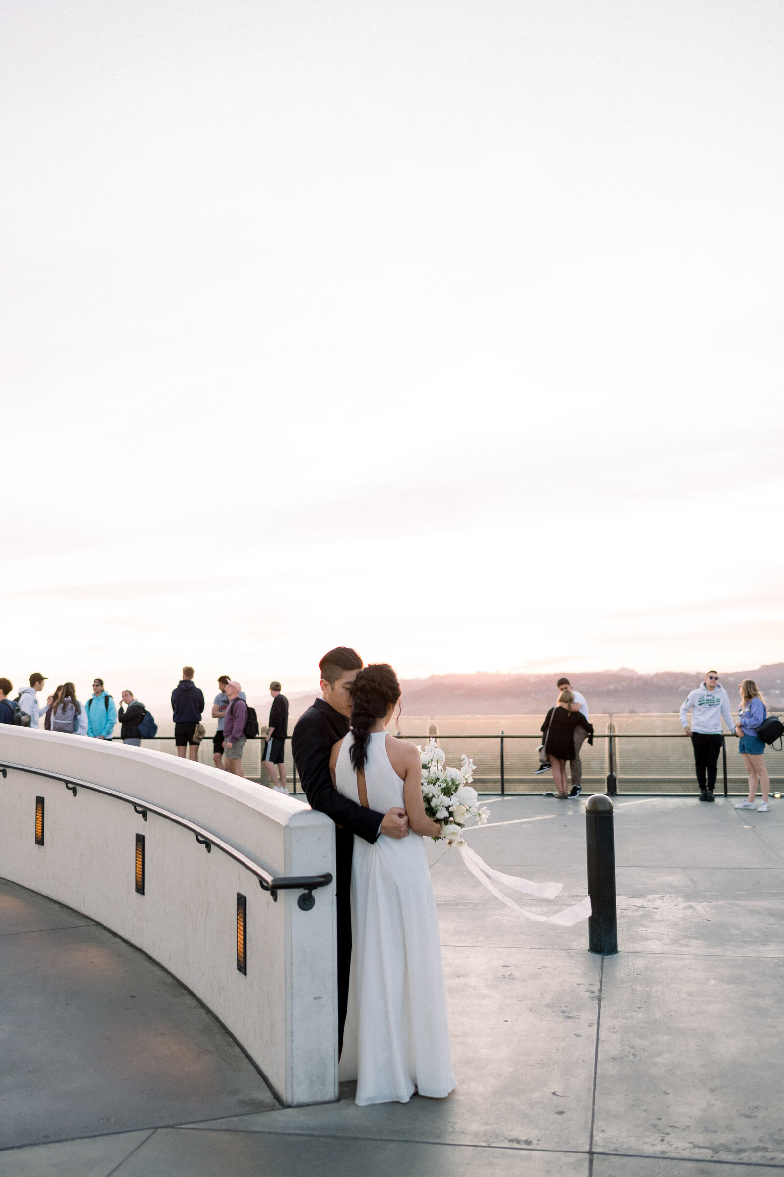 Fine art elegant refined wedding with beaded Naeem Khan gown black tie at the Griffith Observatory in Los Angeles California by Liz Andolina Photography