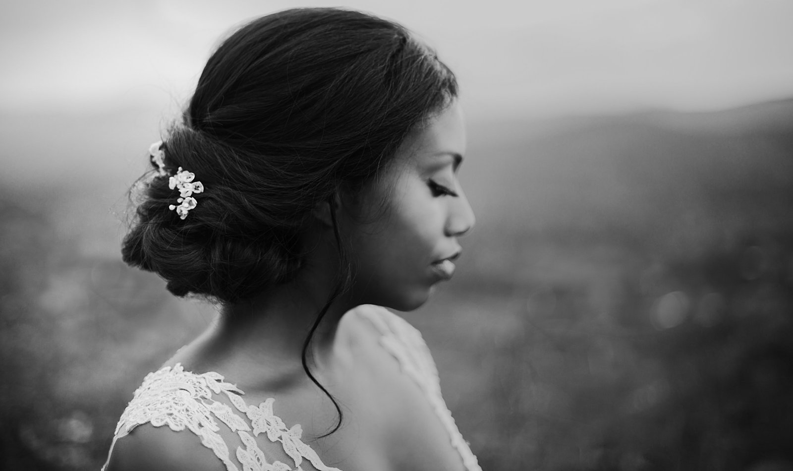 bridal portrait black and white fine art