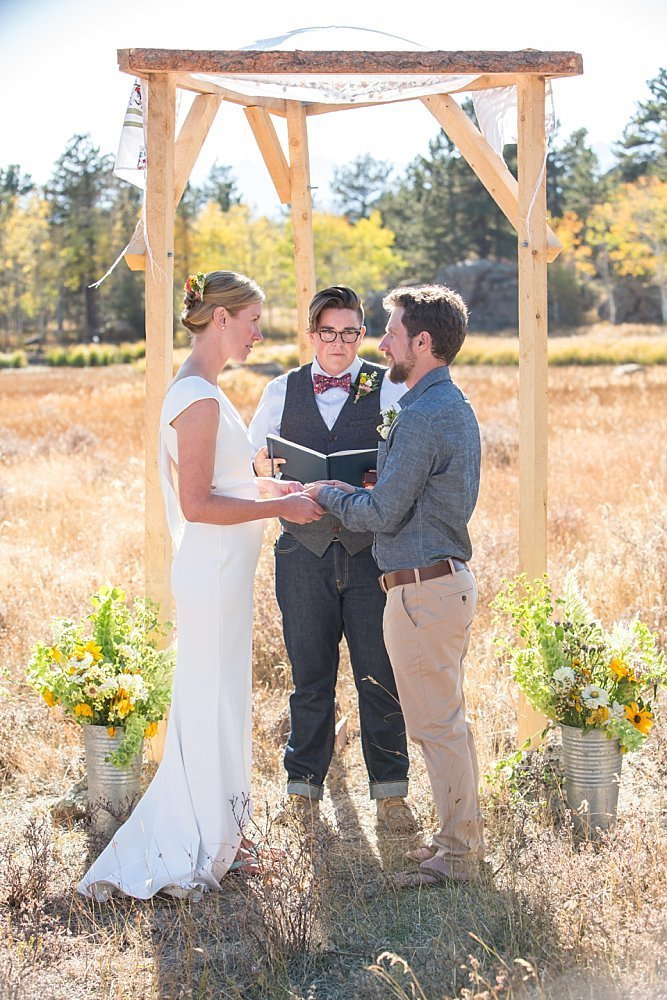 Wedding ceremony in Jamestown Colorado during the fall
