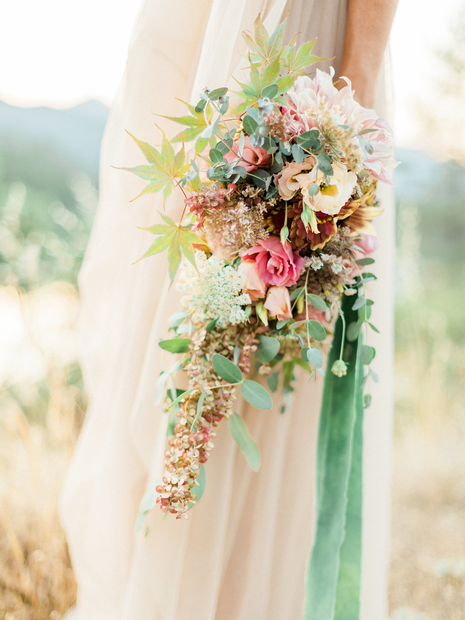 Pink, green and yellow bridal bouquet