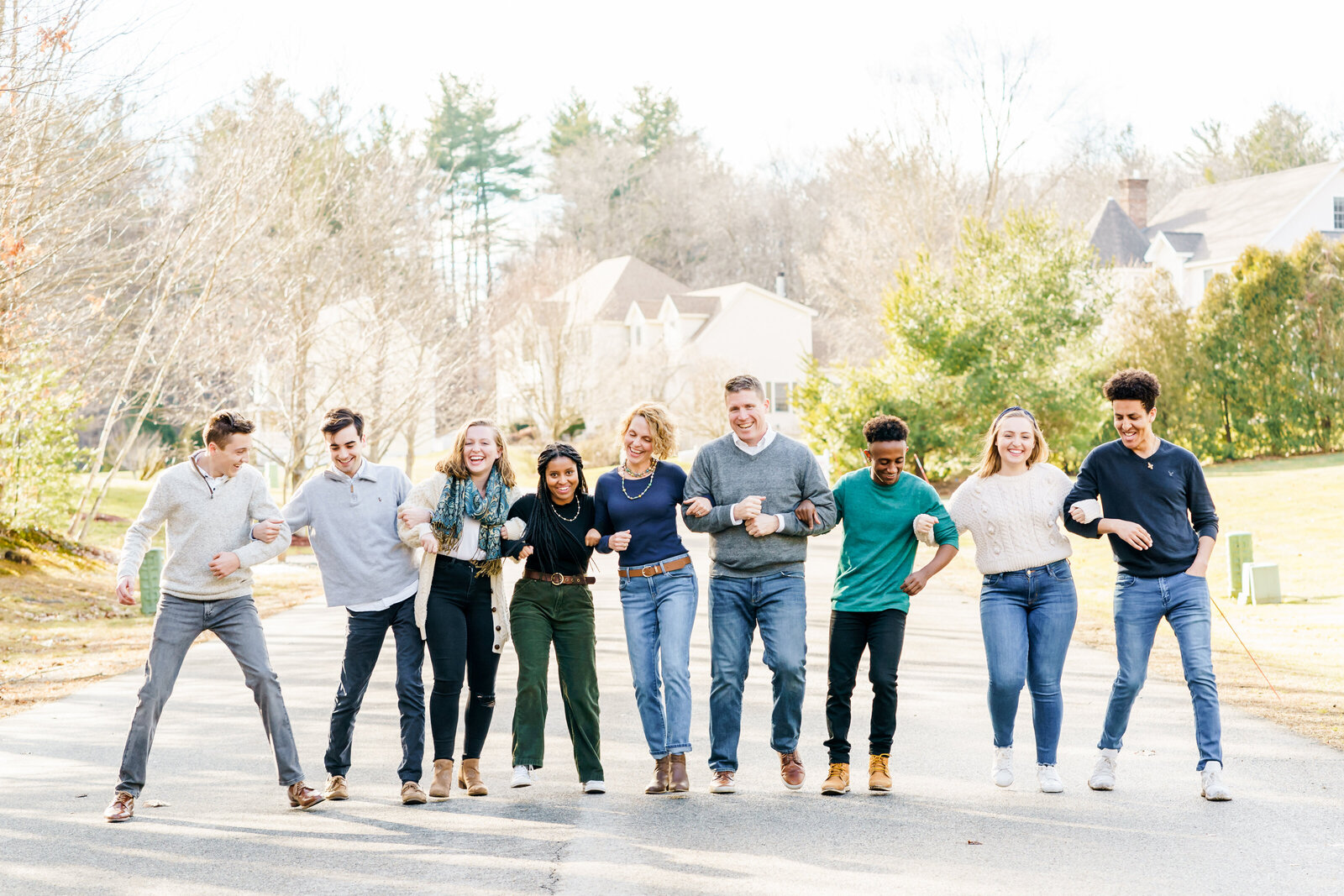 Extended Family standing for New England family photos