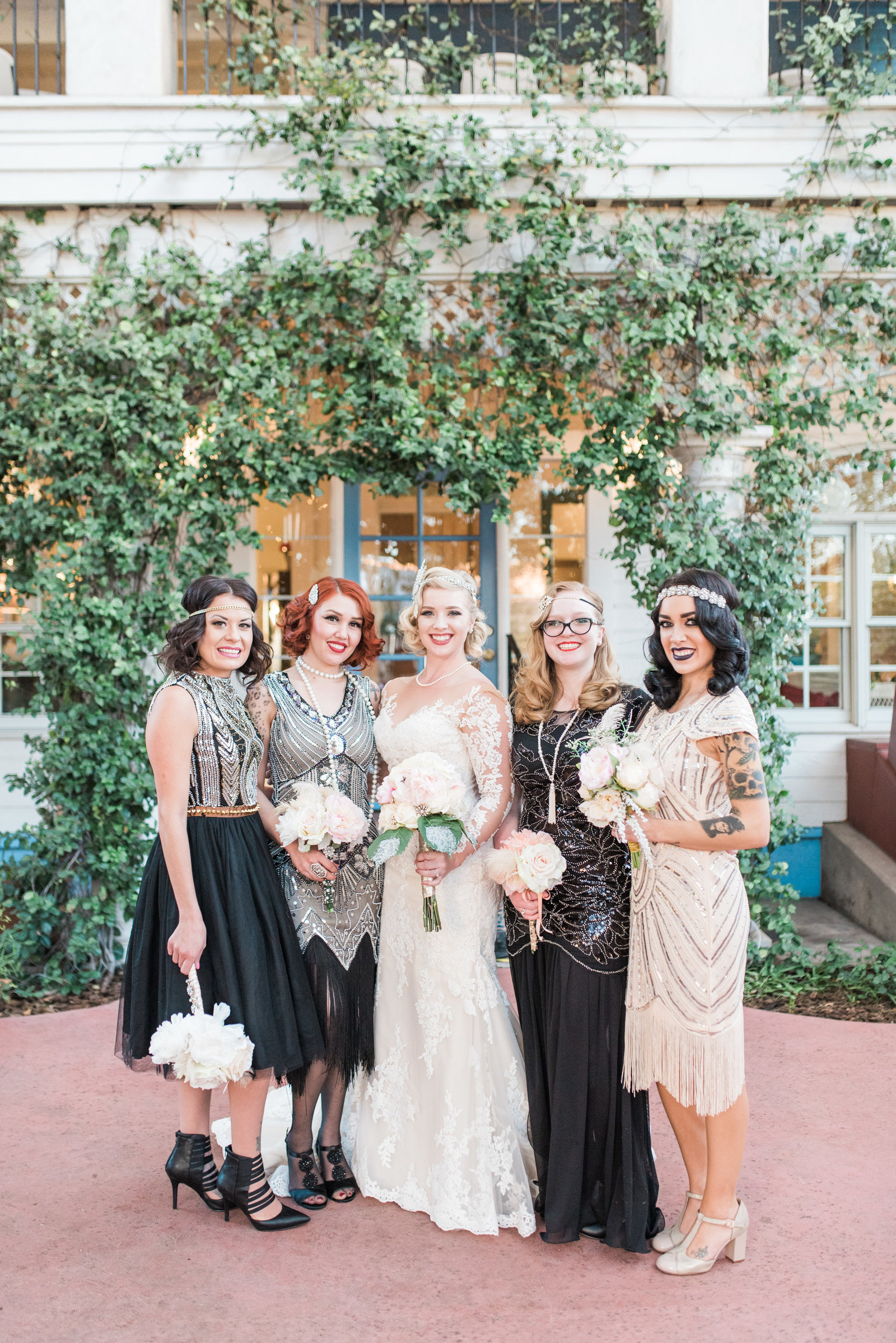 Downtown Tucson Z Mansion Vintage Wedding Photo of Bride and Bridesmaids | Tucson Wedding Photographer | West End Photography