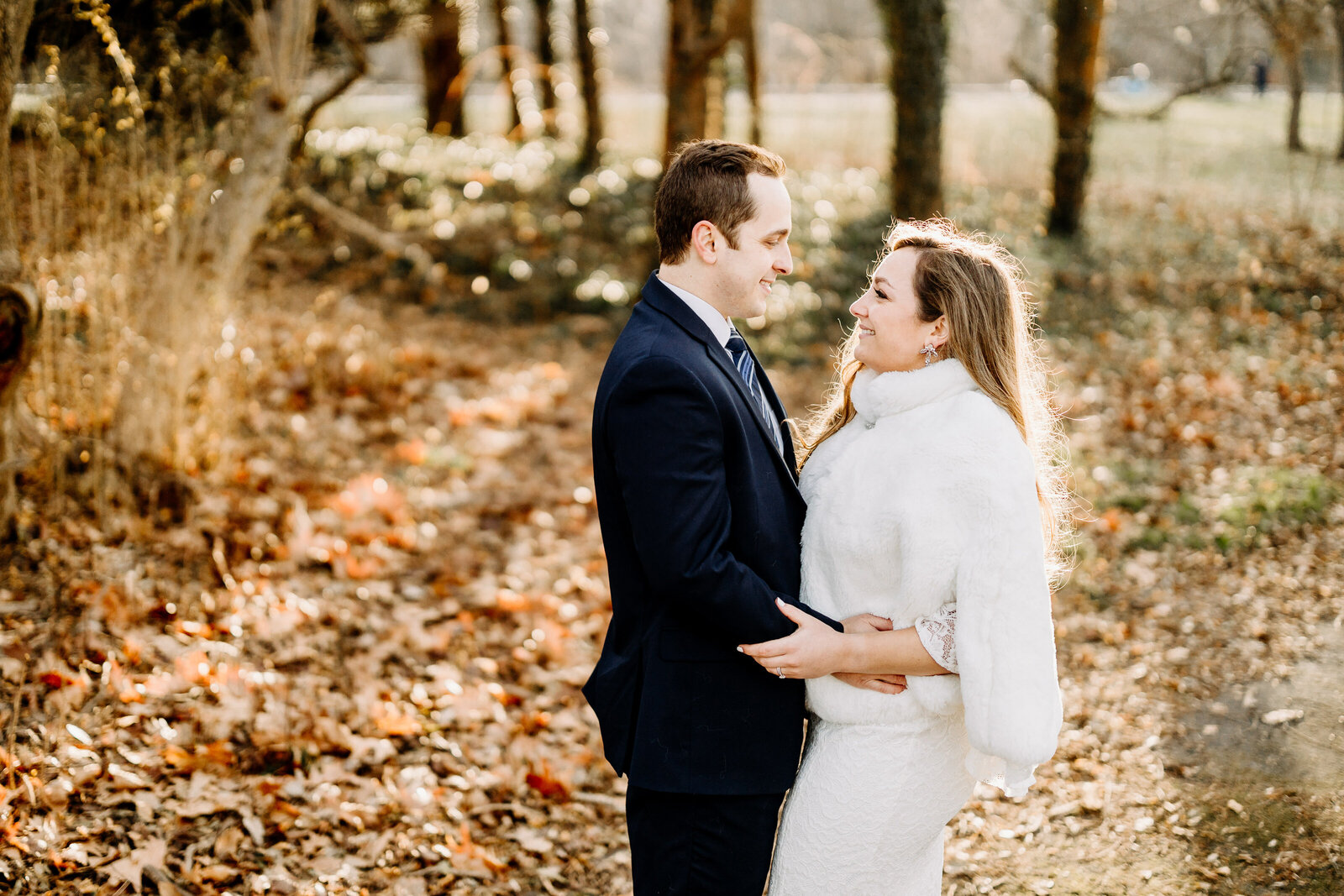 bride with fur shawl and groom with winter sunset light