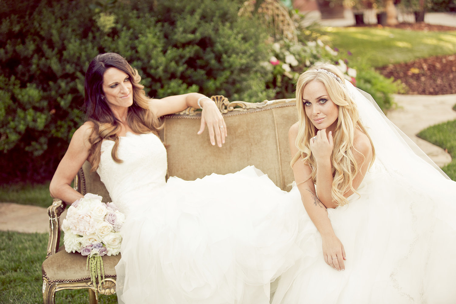 Stylish wedding portrait of lesbian couple at Twin Oaks Wedding Estate in San Diego