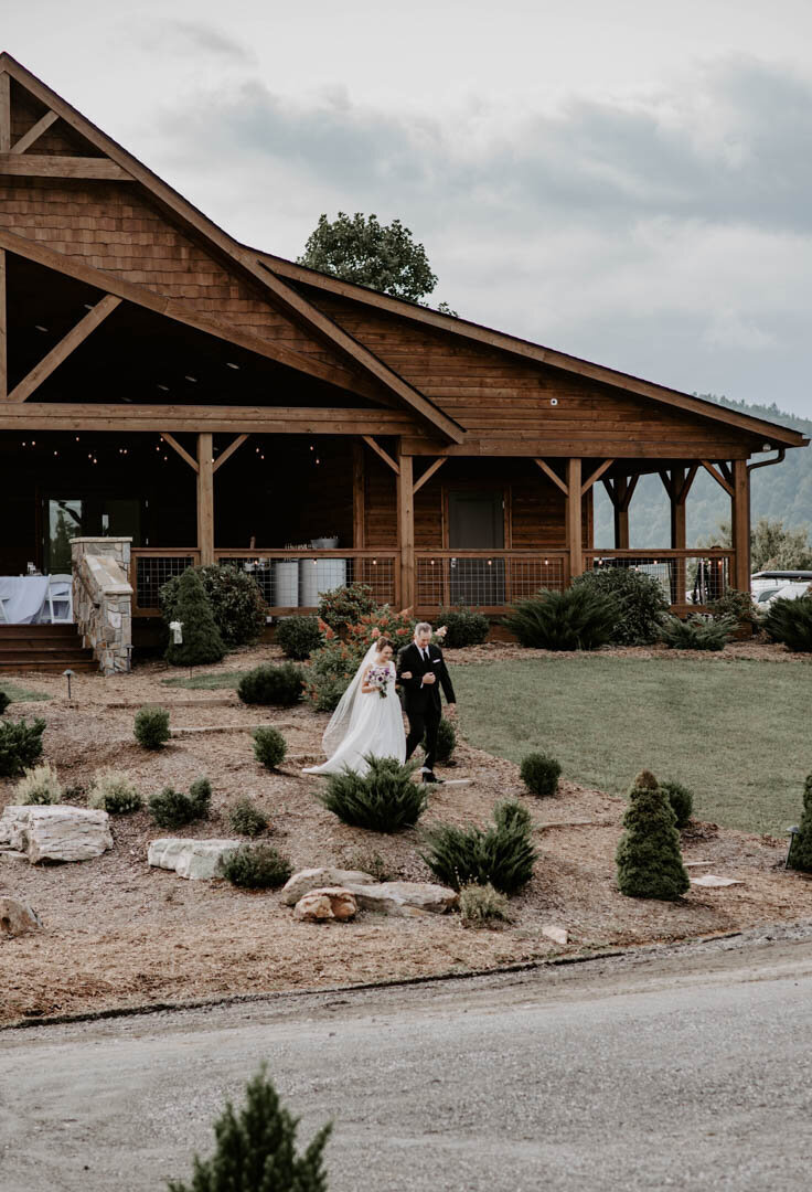 Bride walking down the aisle at The Sky Retreat in Boone NC