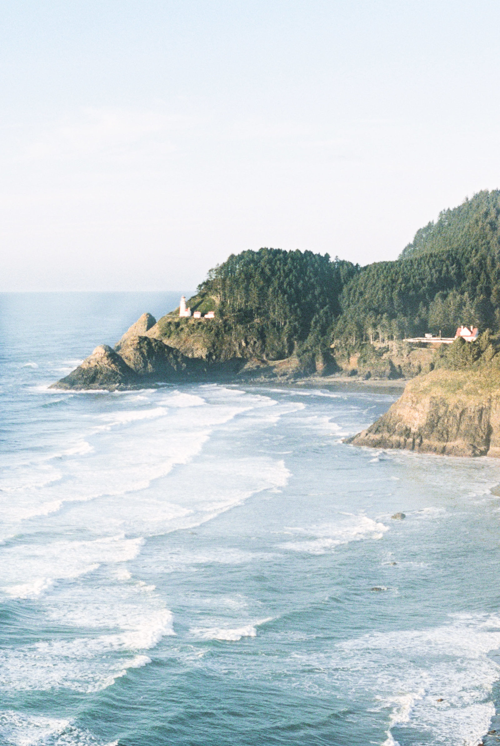 Heceta Head lighthouse and beach near Florence, OR