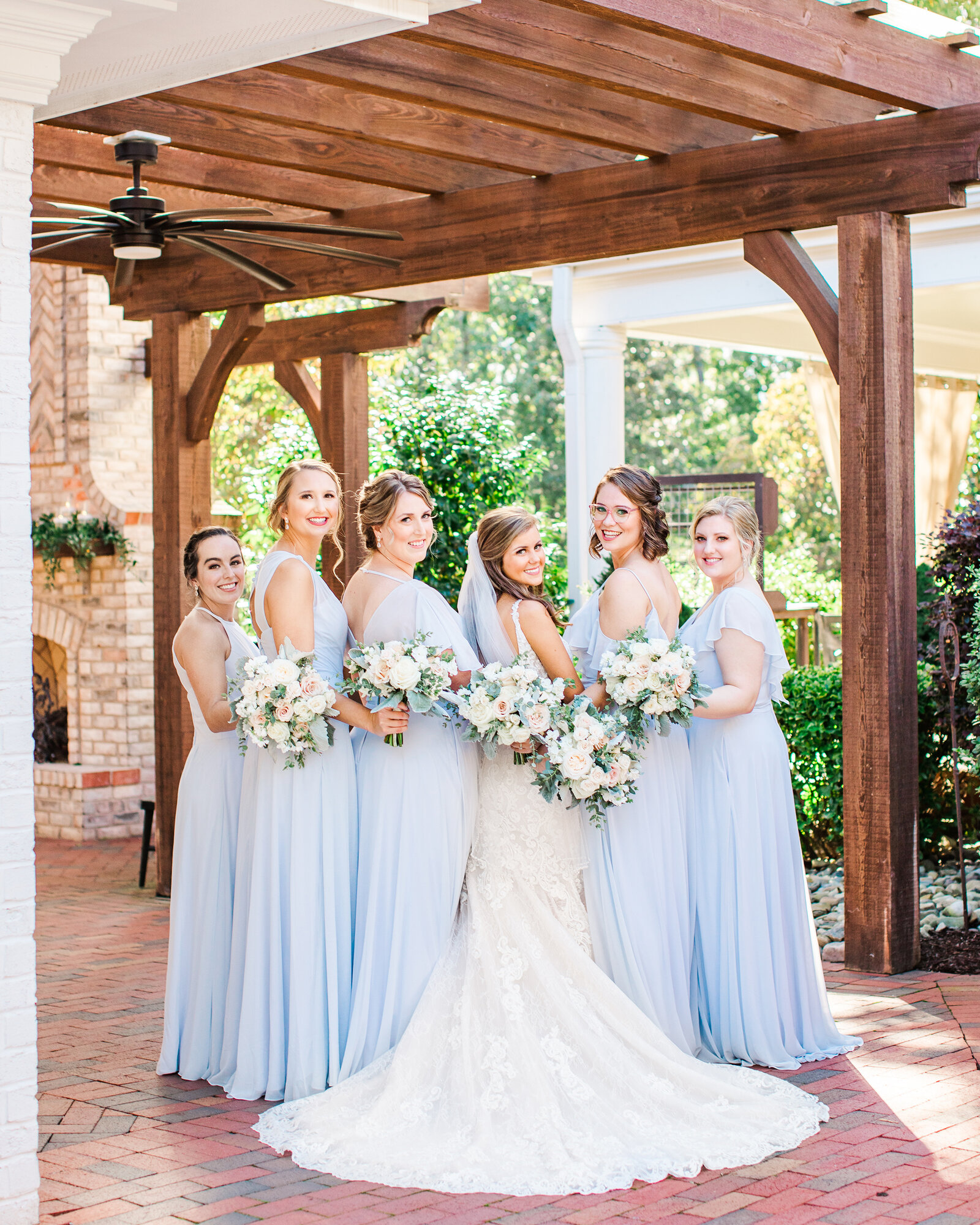 Bridesmaids at the Highgrove Estate outside of Raleigh NC