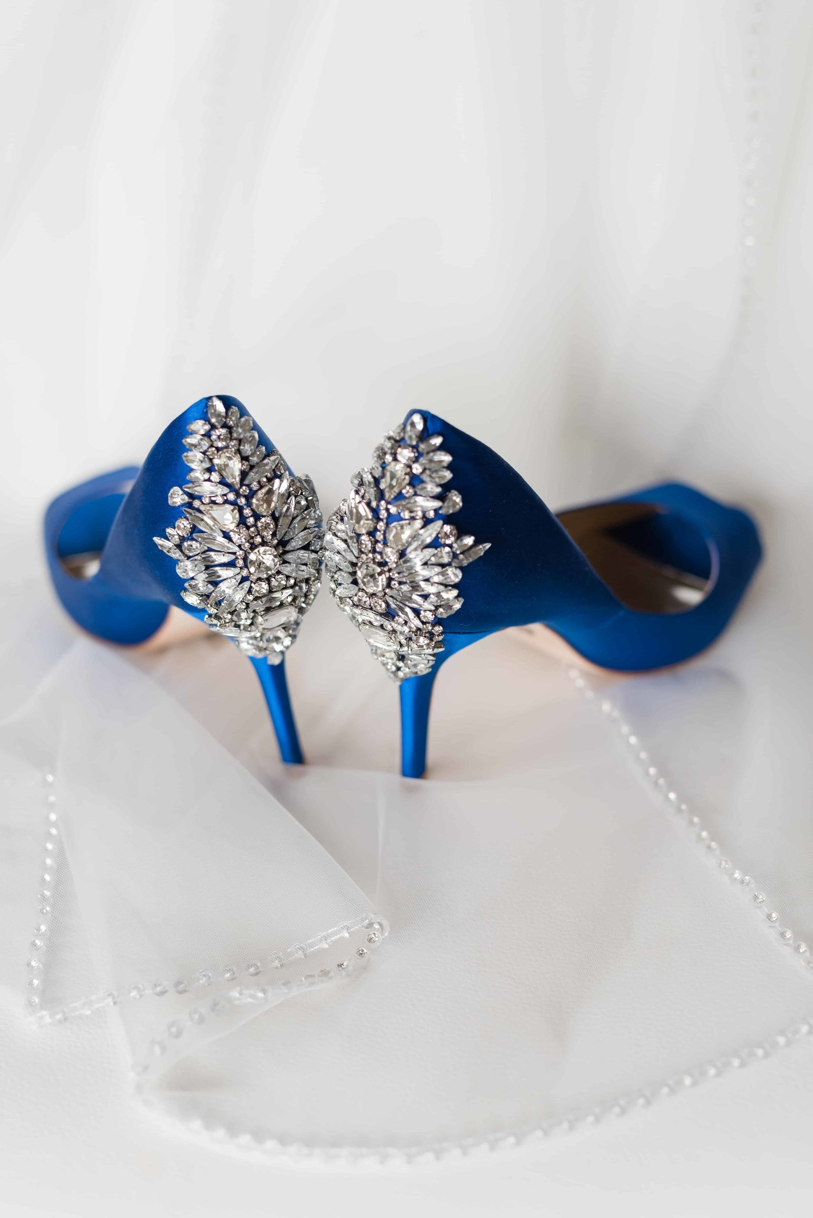 Blue Sparkle Wedding shoes detail shot