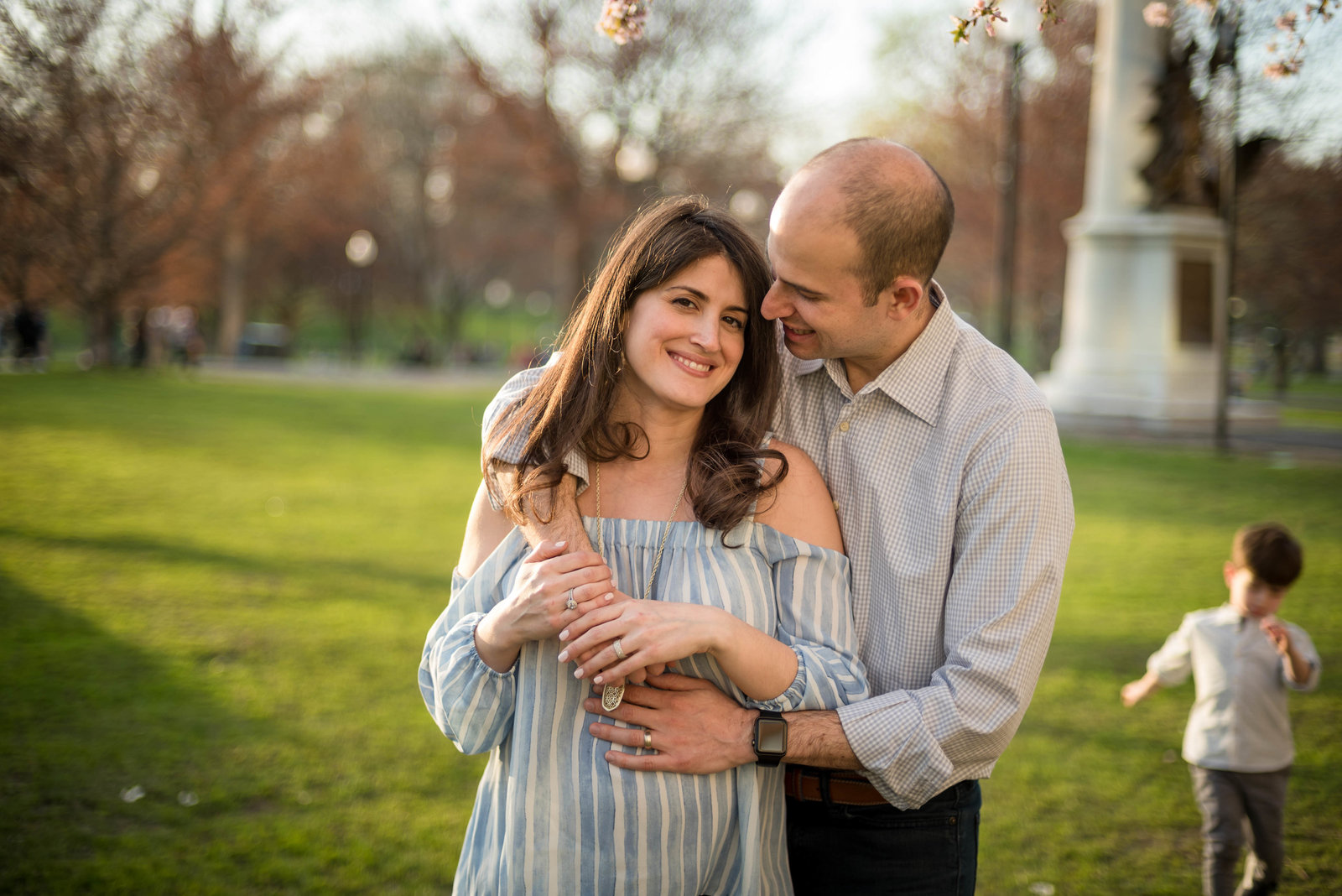 boston commons maternity session at sunset