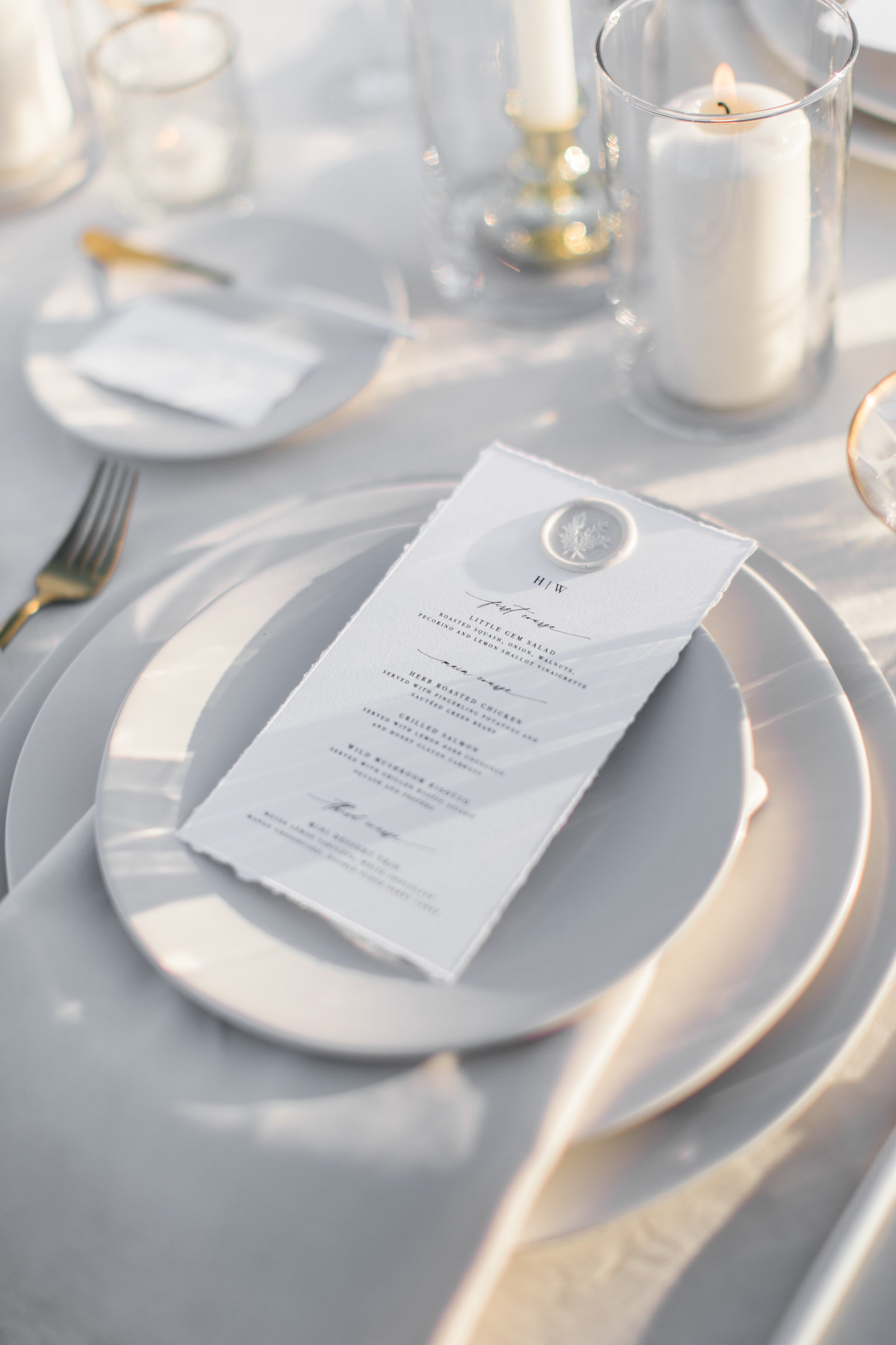 decadent, designer wedding menu