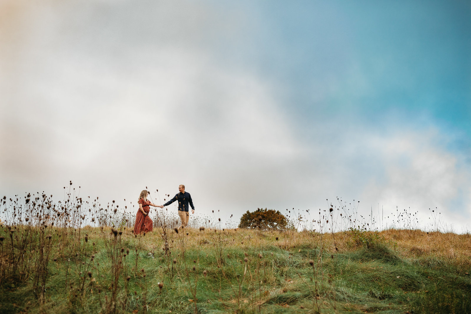 husband leads pregnant wife through field of wildflowers in maternity photos