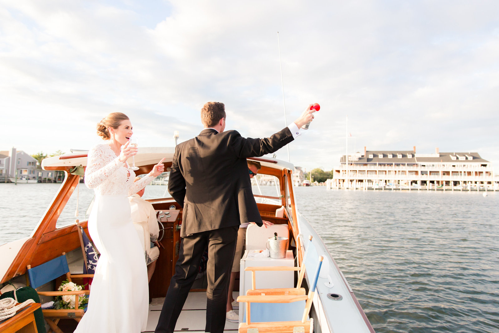 Bride and groom at Bay Head Yacht Club wedding