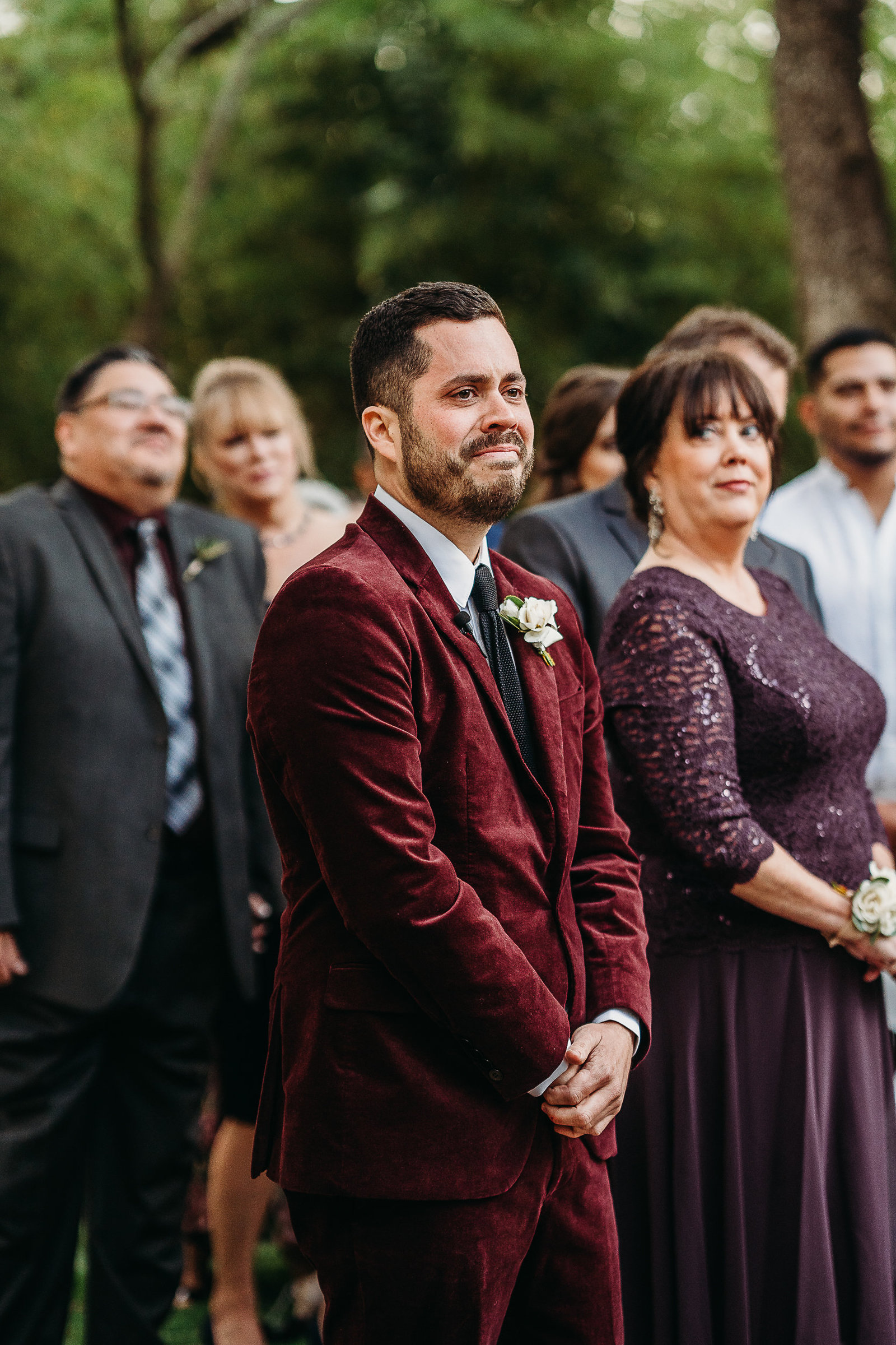 groom cries when he sees bride coming down aisle