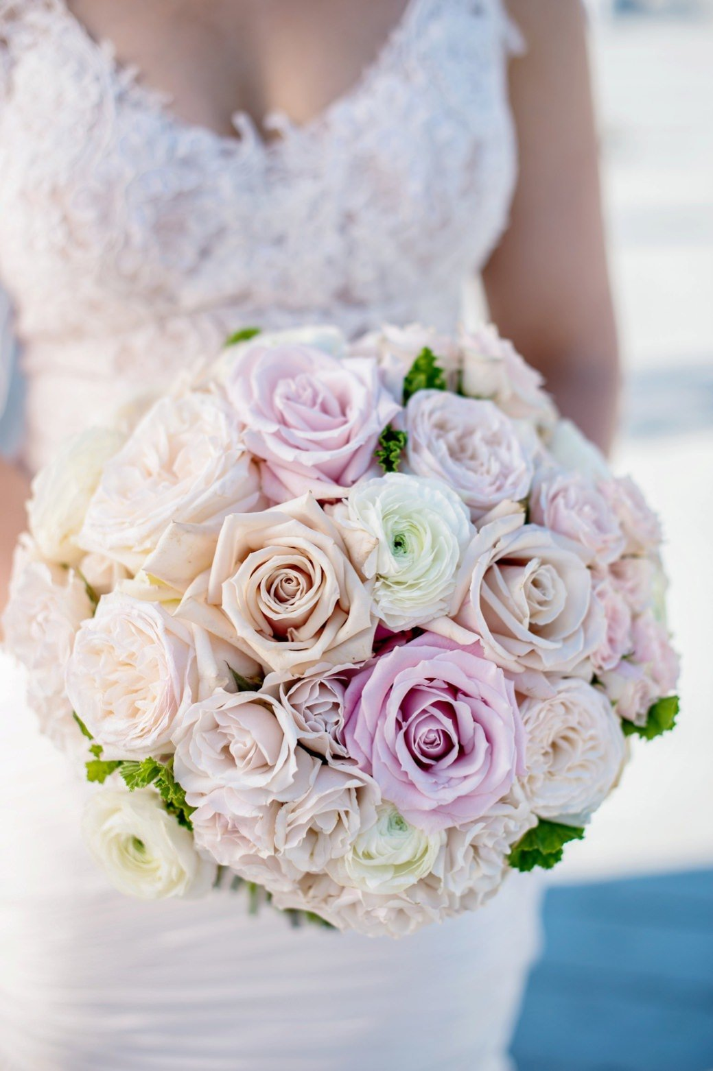 Classic bouquet of roses in purple, blush pink and ivory