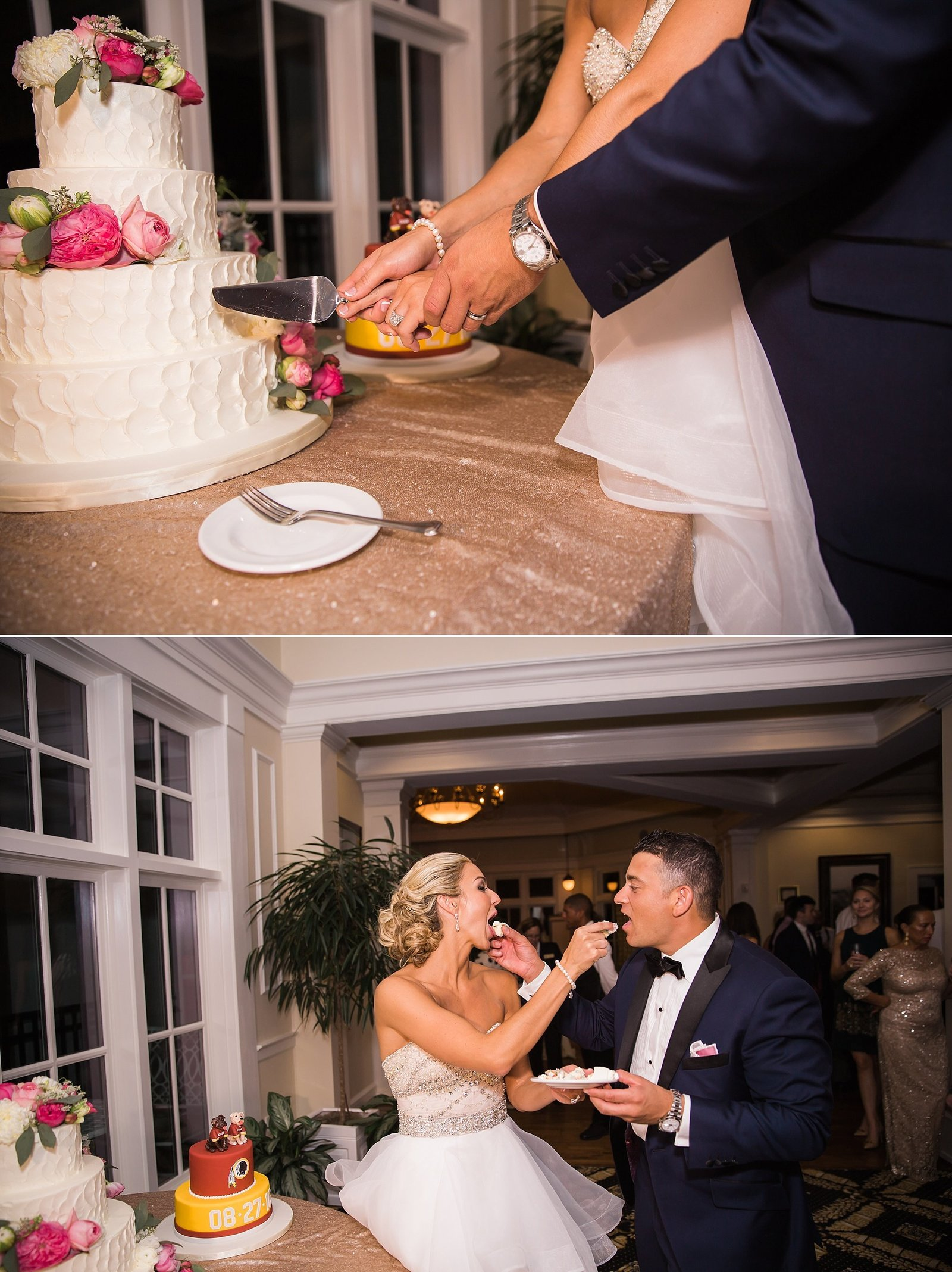 M Harris Studios_Trump National Golf Club Wedding_cutting wedding cake