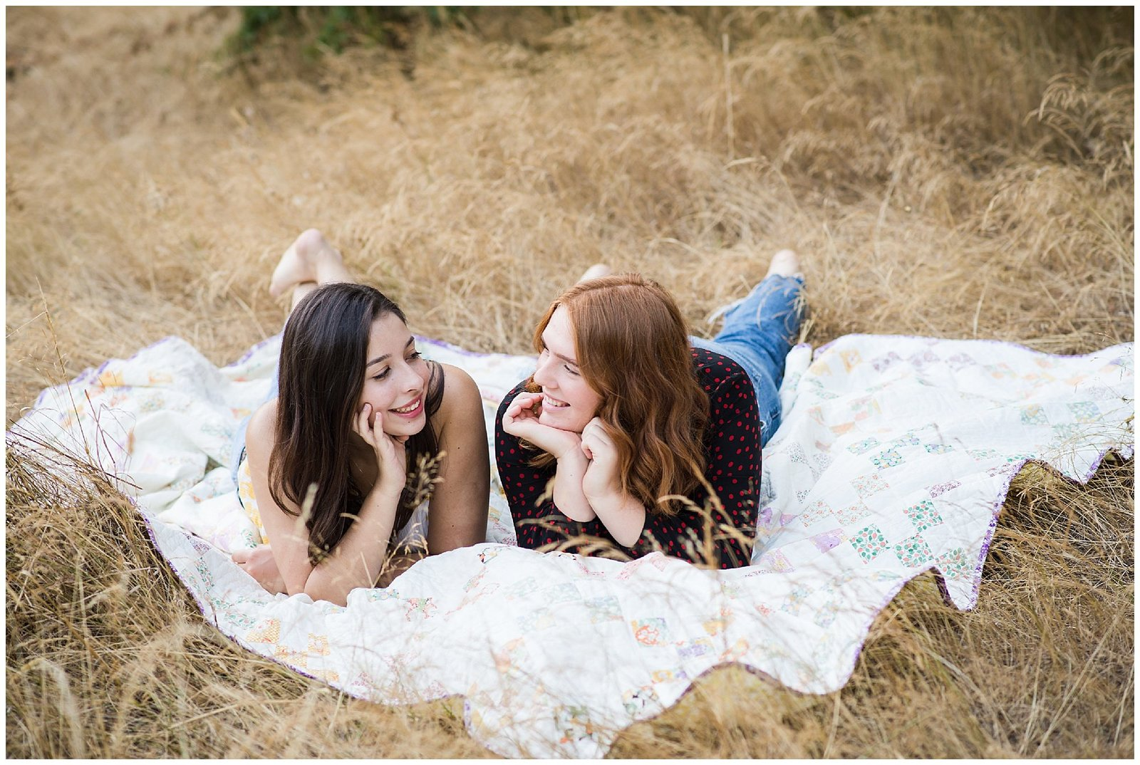 Senior Graduation Girlfriends in Field on Blanket Emily Ann Photography Seattle Photographer