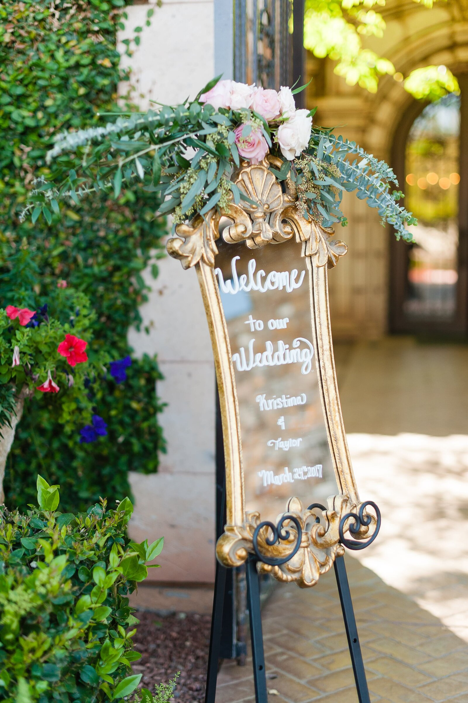 wedding-welcome-sign-with-flowers