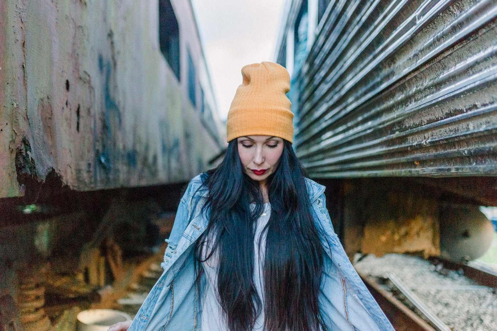 Walking through the train cars captured by Staci Addison Photography