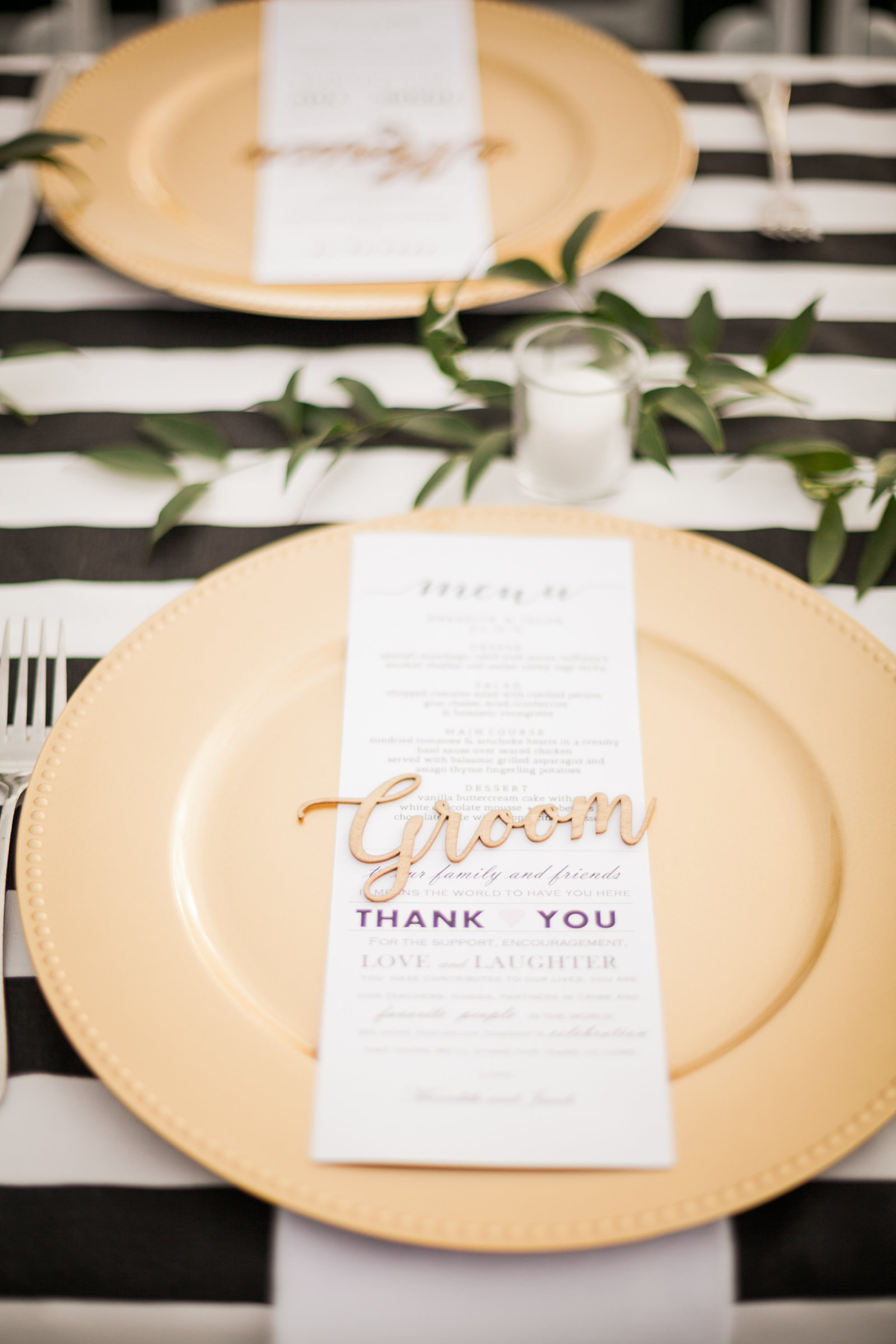 stenciled names for the head table from etsy with custom menu cards