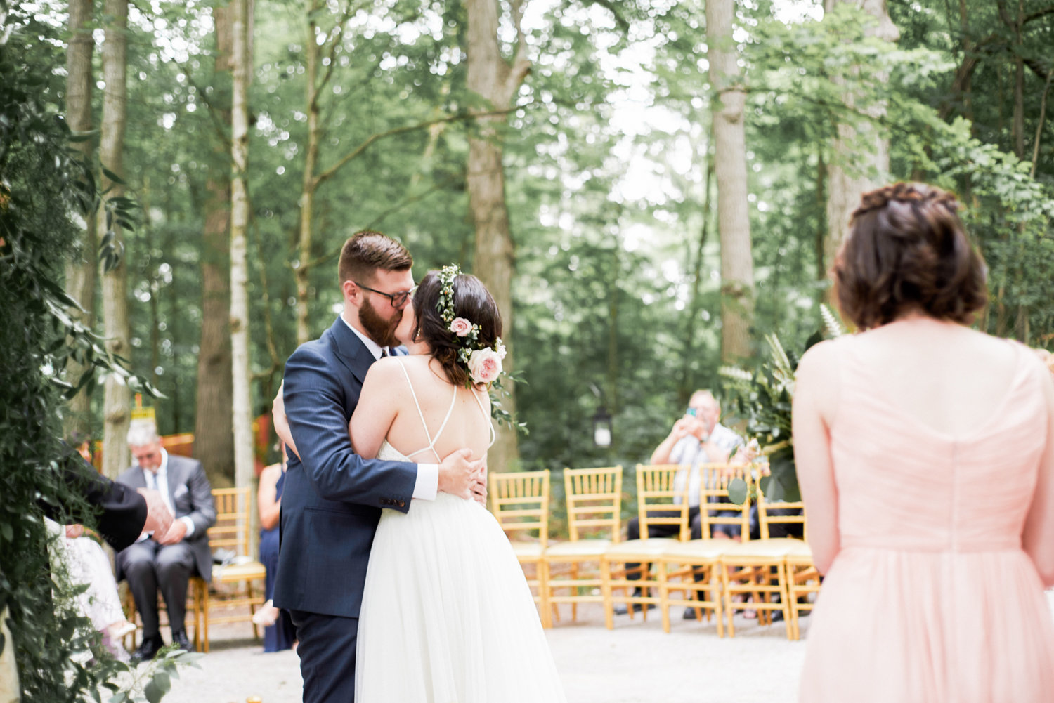 First kiss at wedding ceremony at the Kortright Centre