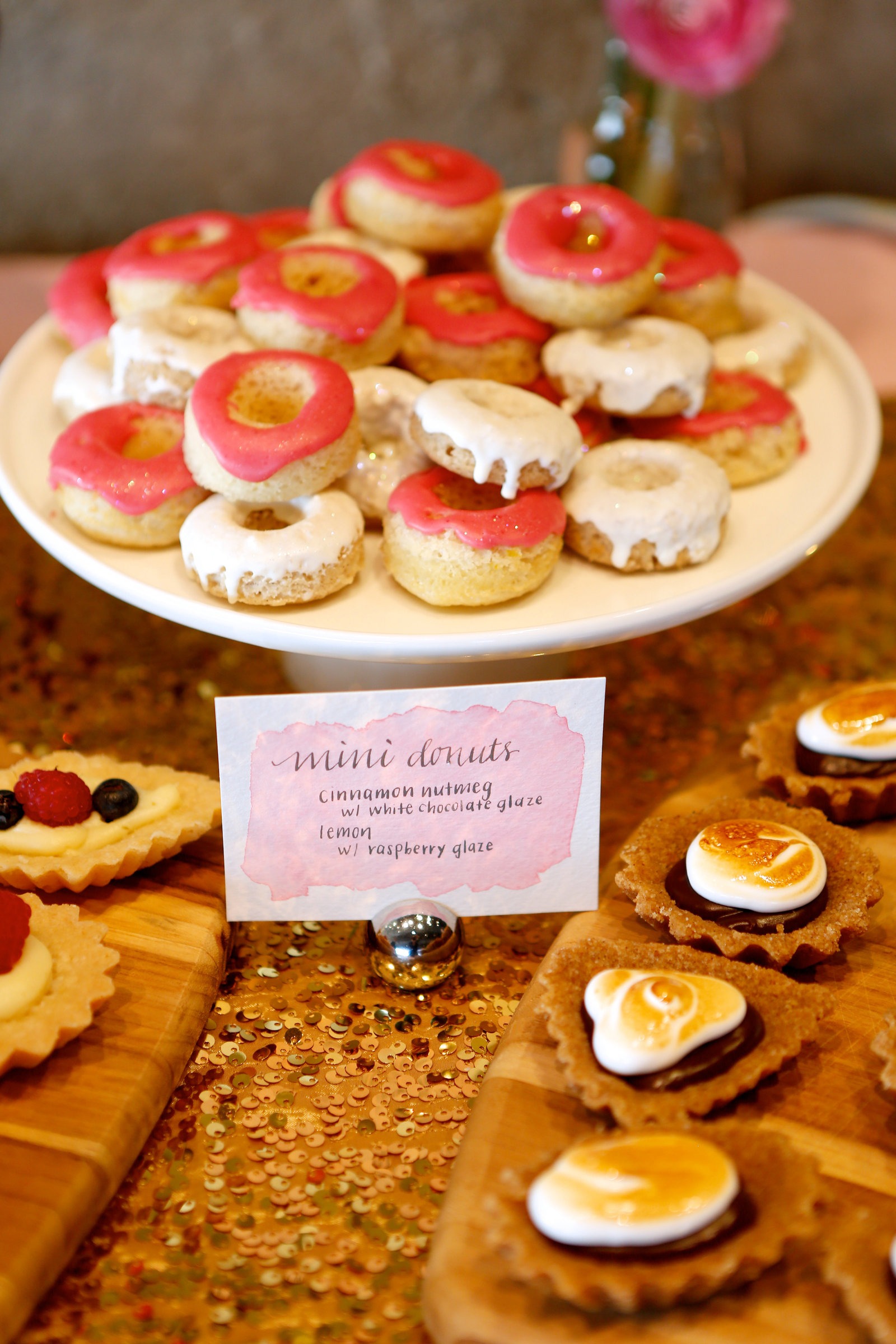 mini dessert bar during dallas texas wedding reception from bethany anne baking