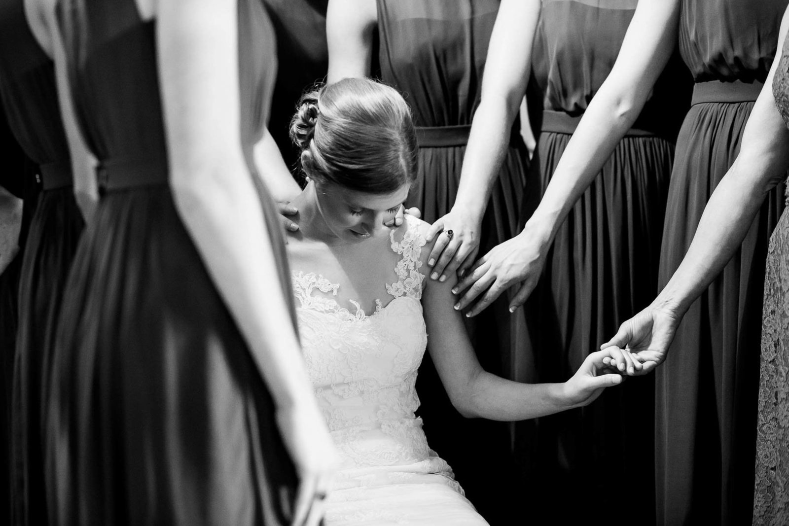 Bridesmaids pray with bride, Oakland Plantation, Mt Pleasant, South Carolina. Kate Timbers Photography.