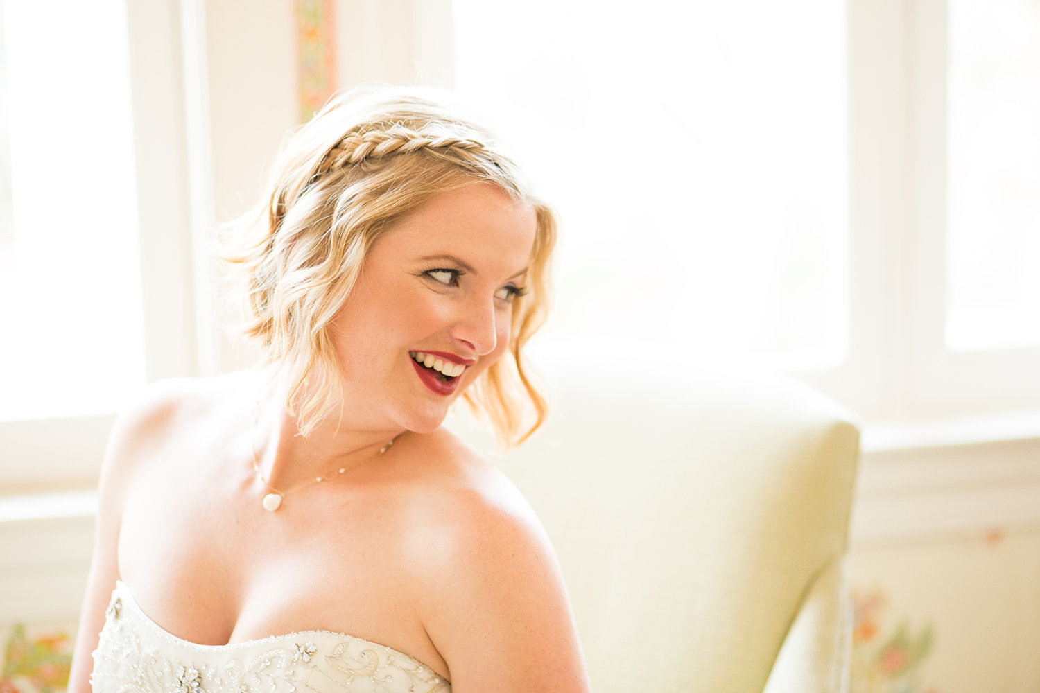 close up with bride at the darlington house laughing