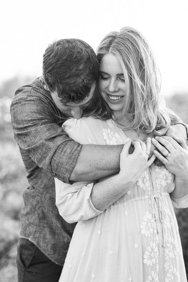 Gates Pass Desert Engagement Session Black and White Photo of Engaged Couple Hugging | Tucson Wedding Photographer | West End Photography