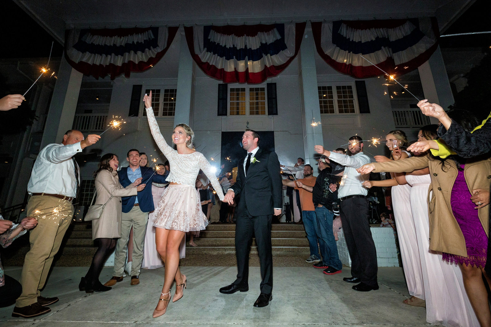 bride and groom sparkler exit at pecan plantation country club