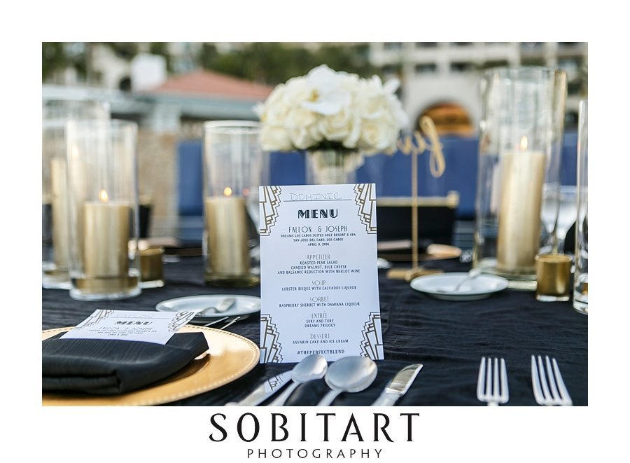 Event design by POSH events for formal destination  wedding reception at Dream Resorts Los Cabos Mexico photo by Sobitart Photography