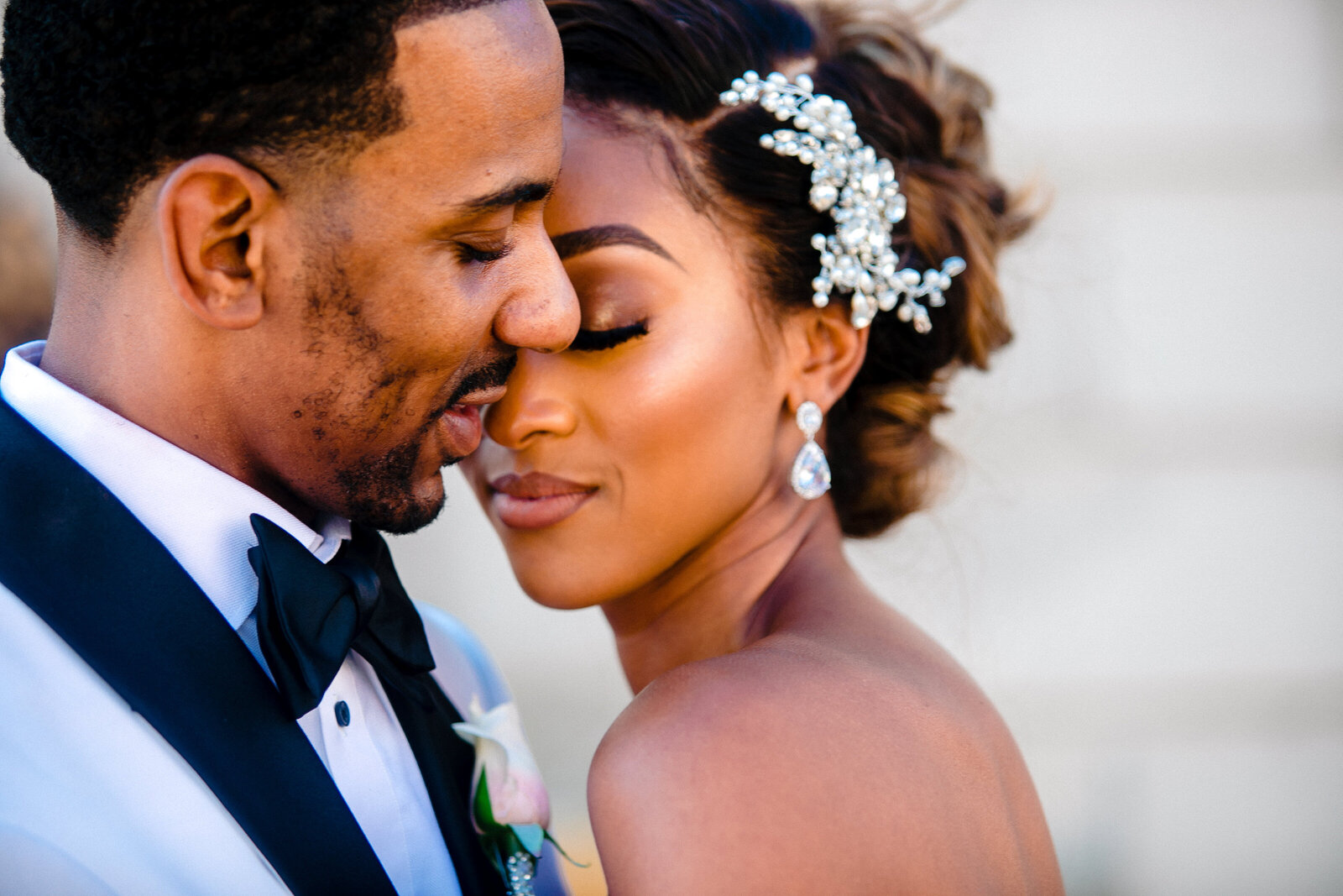 Close up of gorgeous Black couple on their wedding day in STL