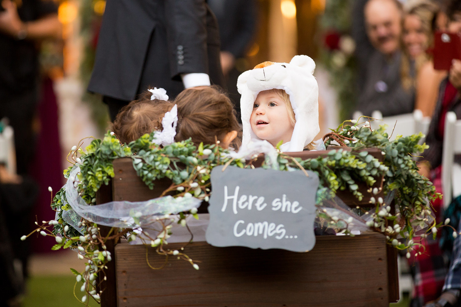 Adorable ring bearer makes his entrance