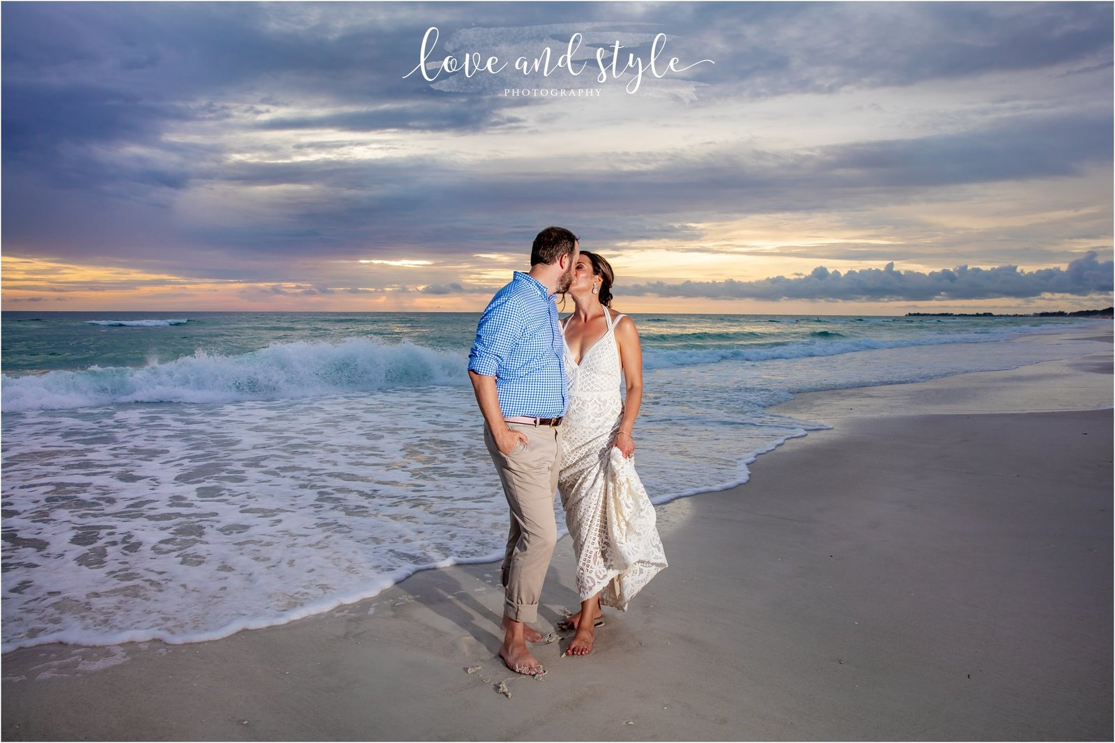 Bride and Groom on Bradenton Beach at Sunset in front of The Beach House Restaurant