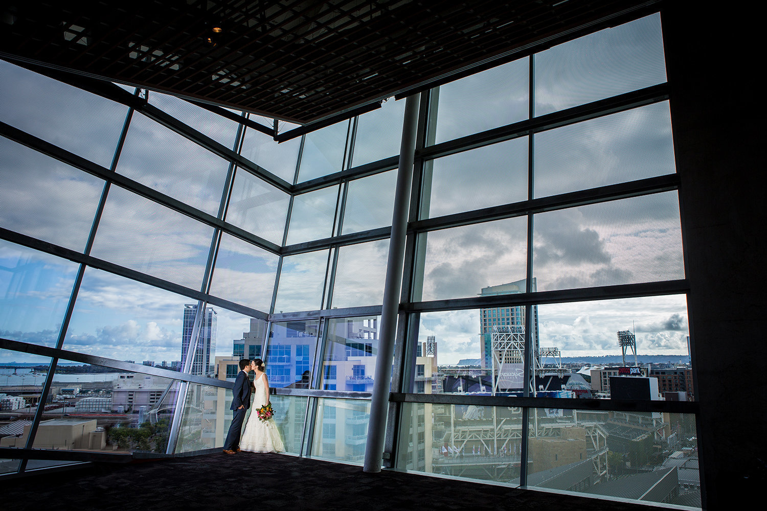 bride and groom public library luce loft wedding
