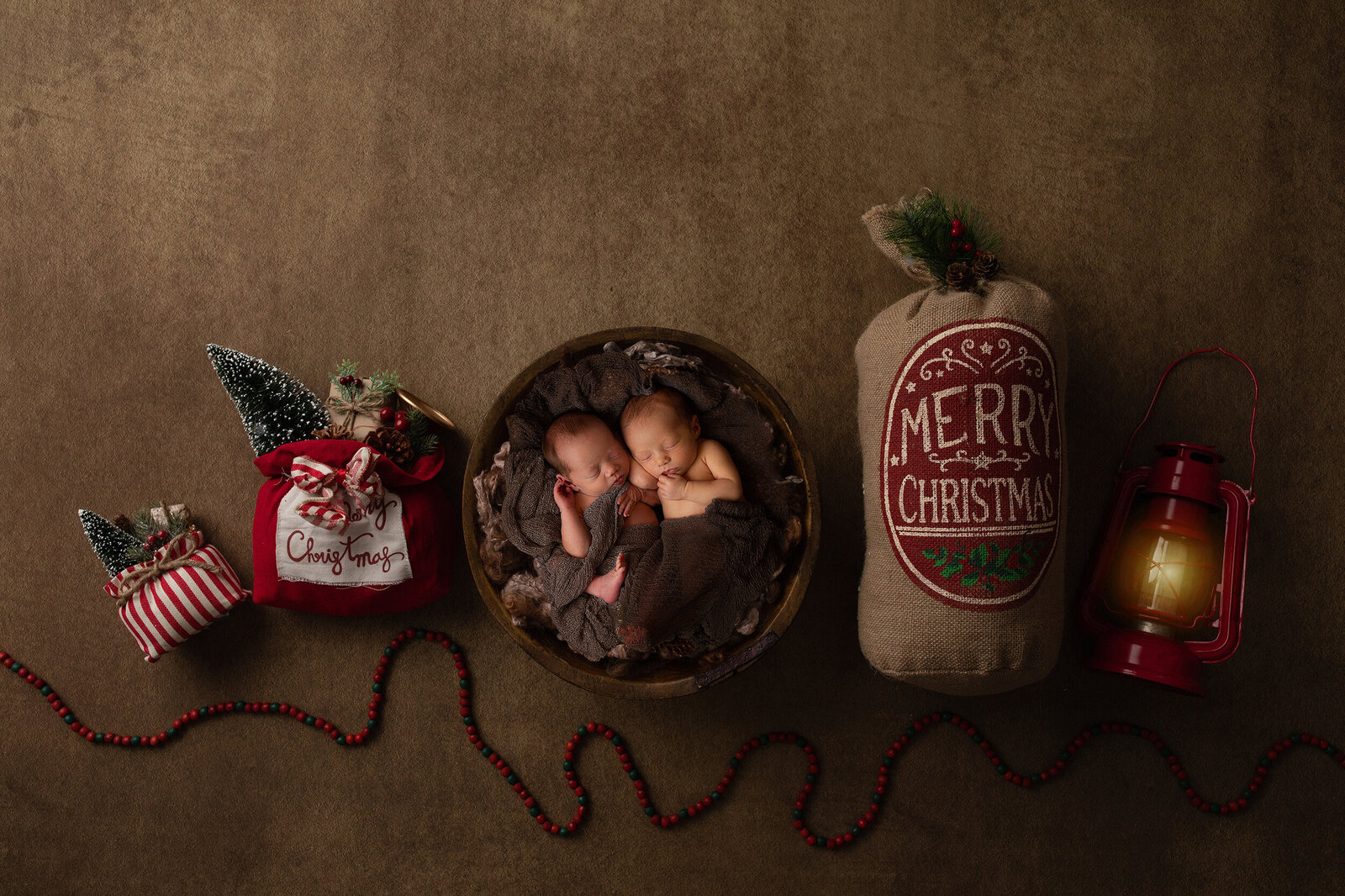 Twin newborn christmas photos
