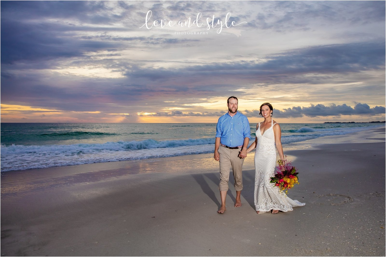 Bride and Groom walking on Bradenton Beach at Sunset in front of The Beach House Restaurant, Anna Maria Island