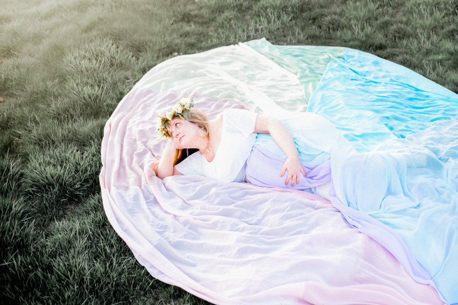 Dreamcatcher Rose Studios - maternity - brooklyn ny - rainbow gown - rainbow baby - laying