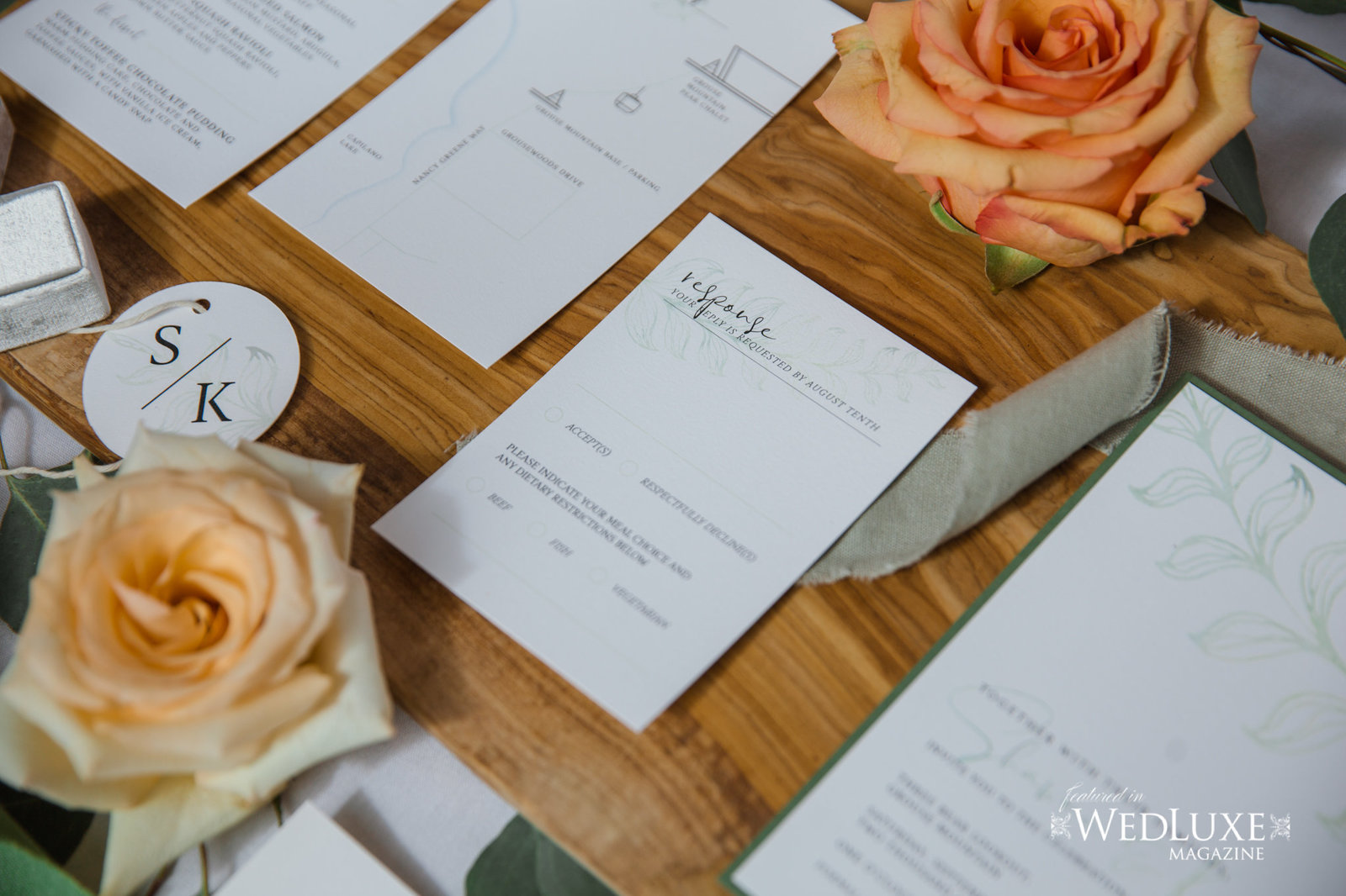 Styled Wedluxe Magazine Rustic Retreat invitations