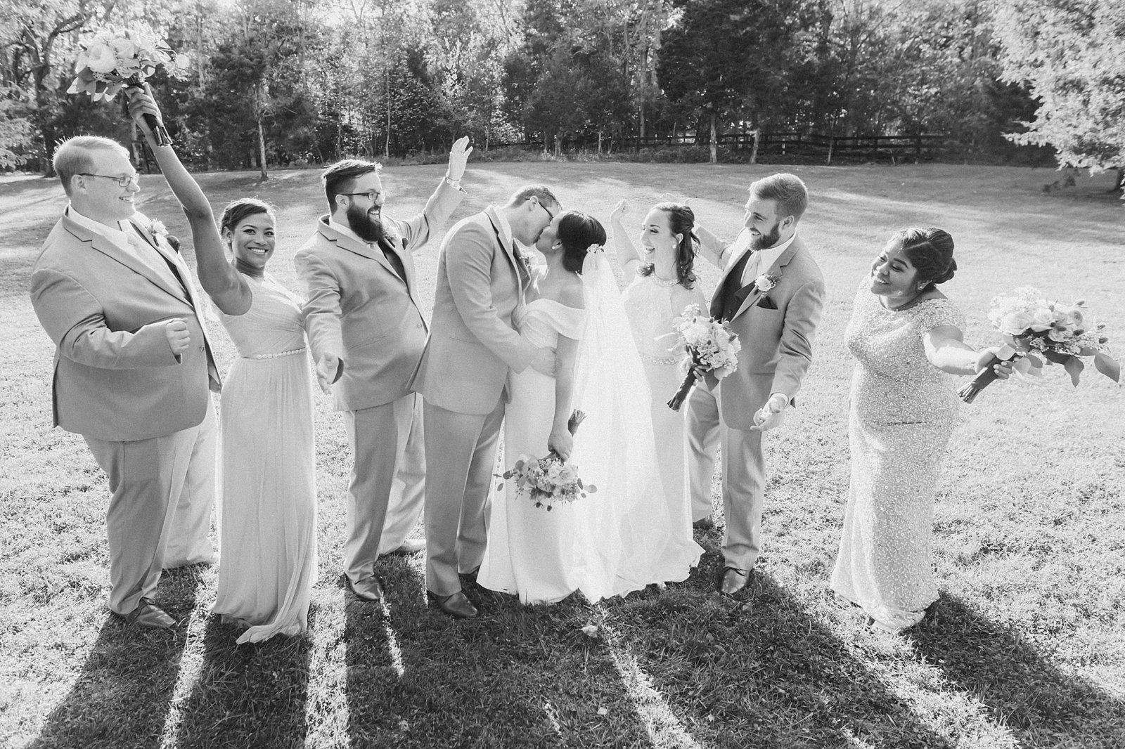 M Harris Studios_Braehead Manor_VA Wedding Photographer_wedding party black and white