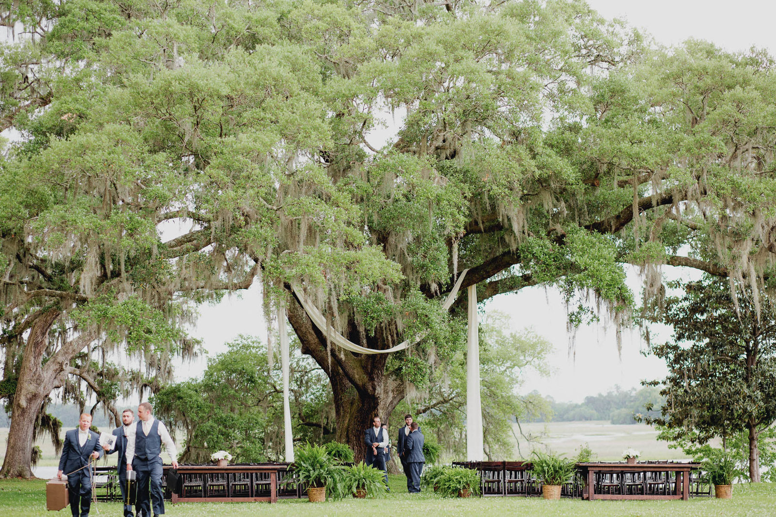 Ceremony site is set up under oak tree, Old Wide Awake Plantation, Charleston, South Carolina