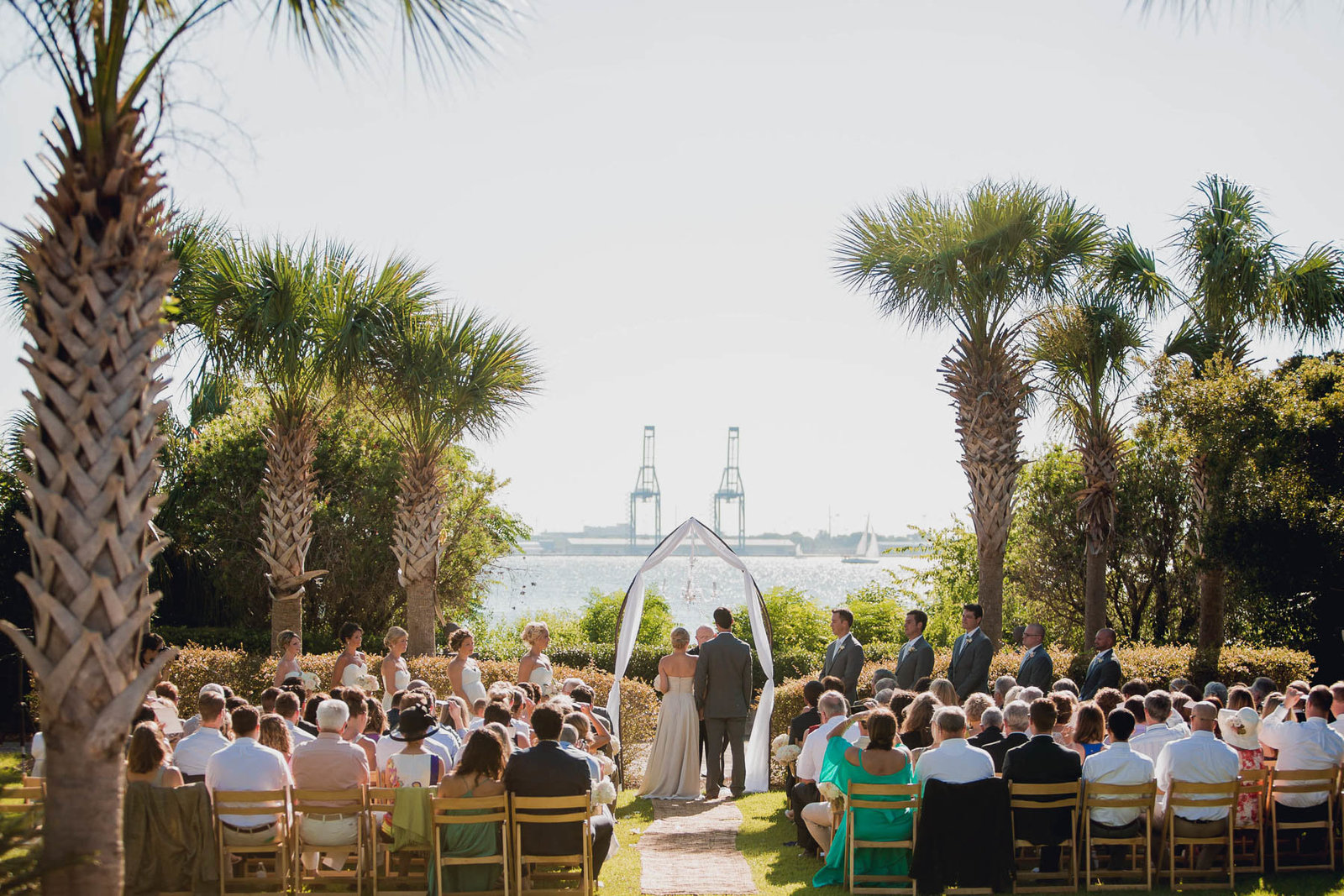 Bride and groom exchange vows, Harborside East, Mt Pleasant, South Carolina